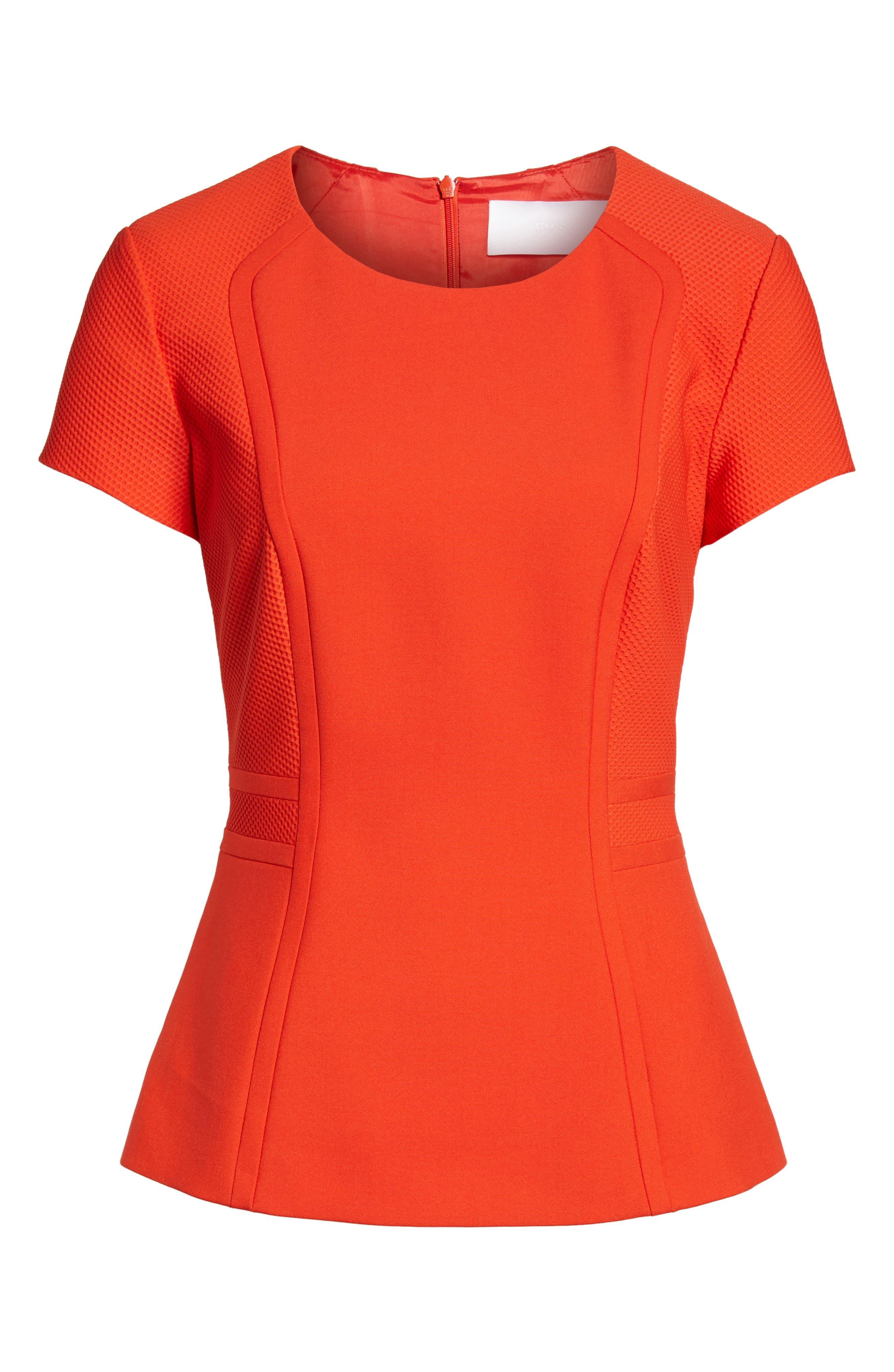 Idama Ponte Top,                             Alternate thumbnail 6, color,                             Sunset Orange