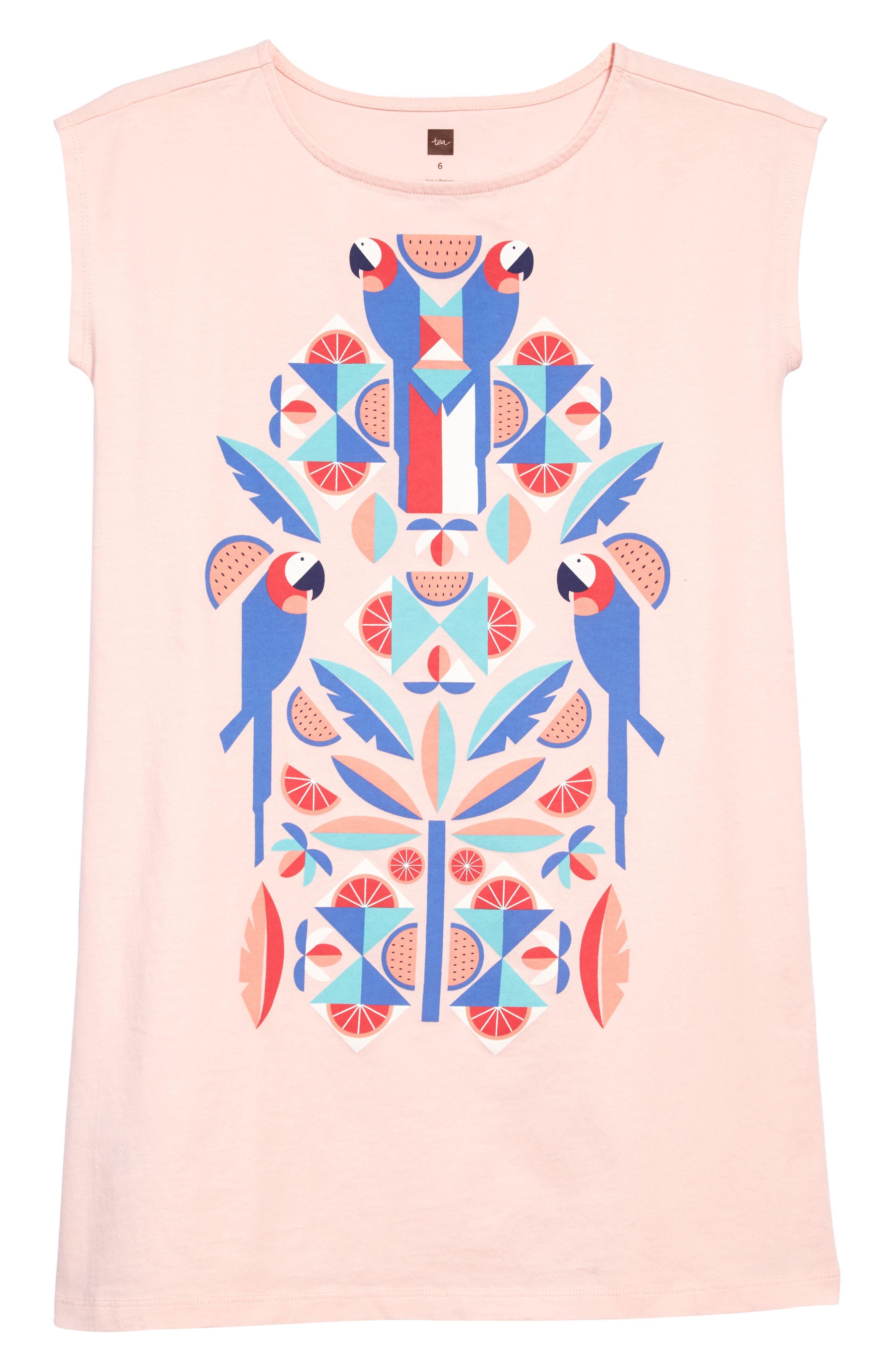 Tropical Birds Graphic Dress,                             Main thumbnail 1, color,                             Pink Gloss
