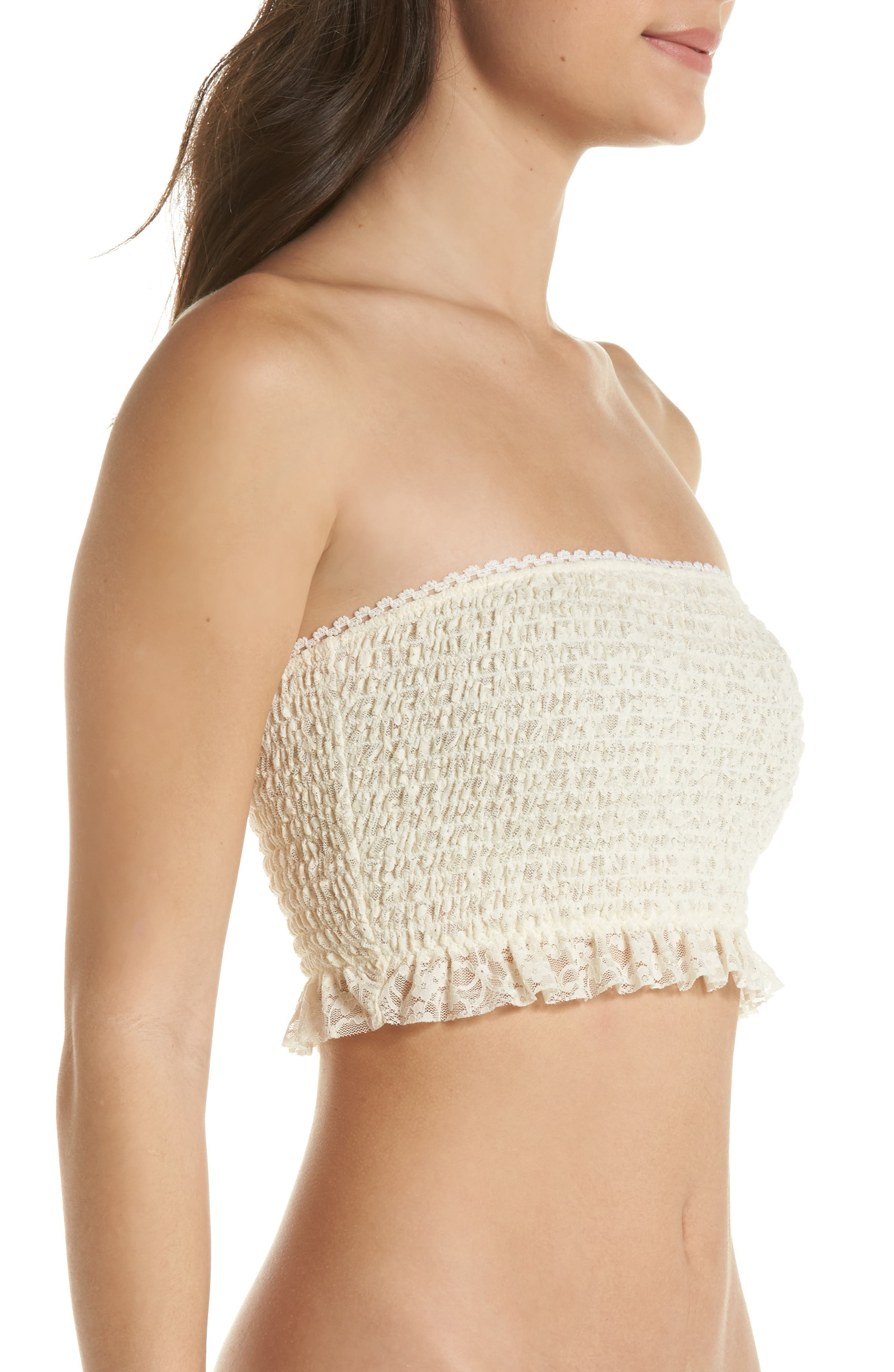 Callie Smocked Bandeau Top,                             Alternate thumbnail 3, color,                             Ivory