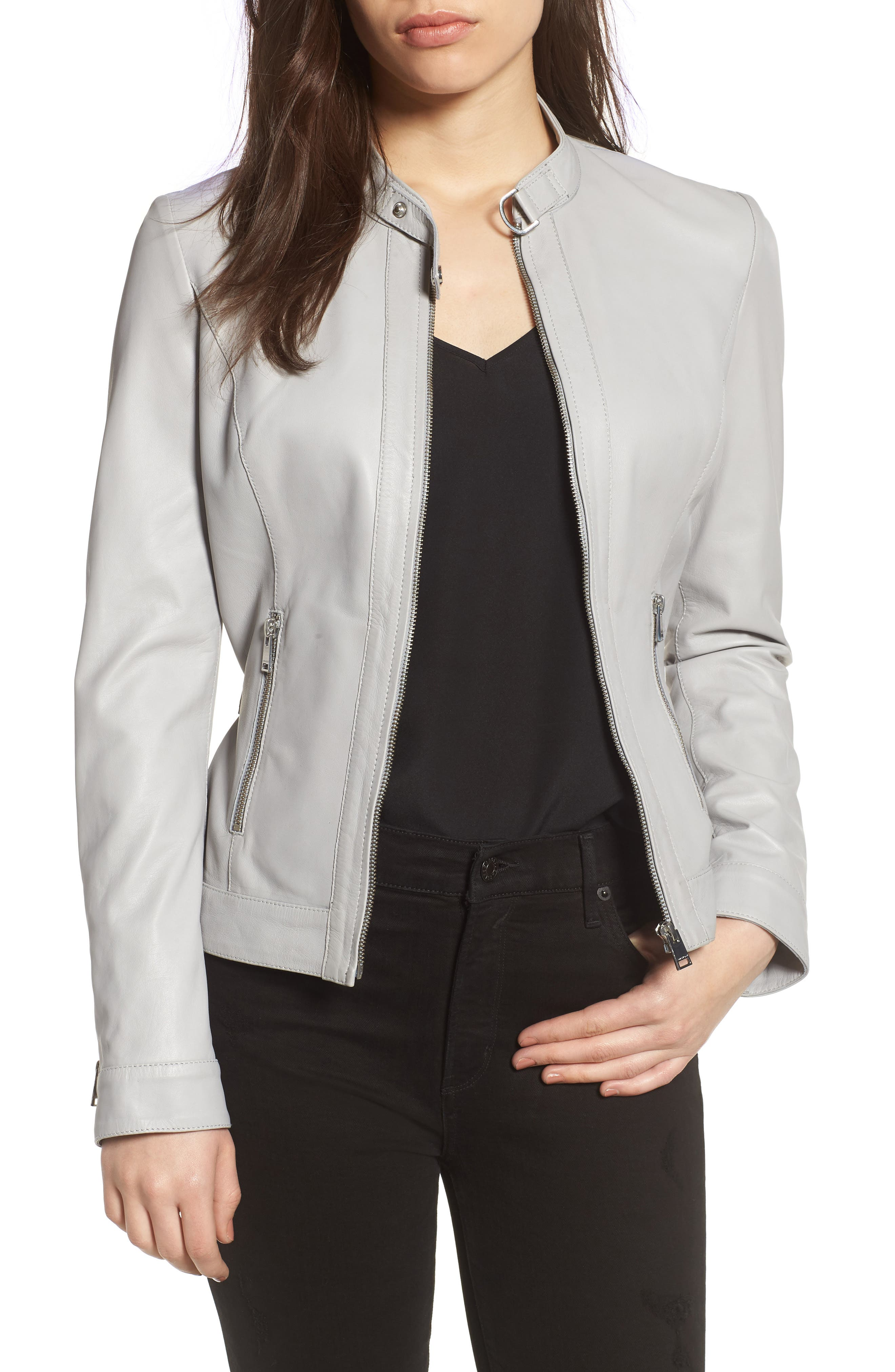 Lambskin Leather Biker Jacket,                         Main,                         color, Air Grey