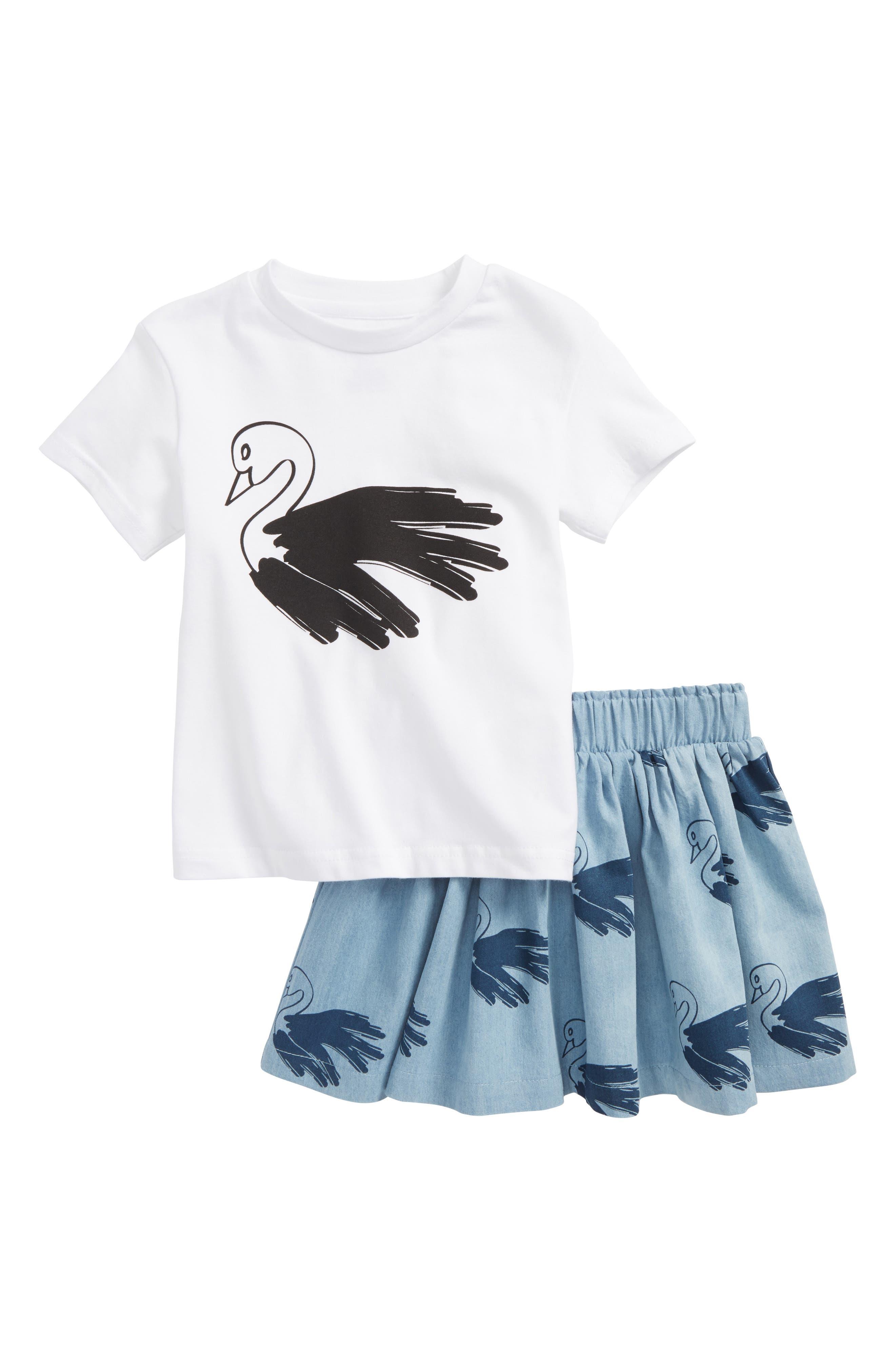 Tiny Tribe Swan Tee & Chambray Skirt Set (Toddler Girls & Little Girls)