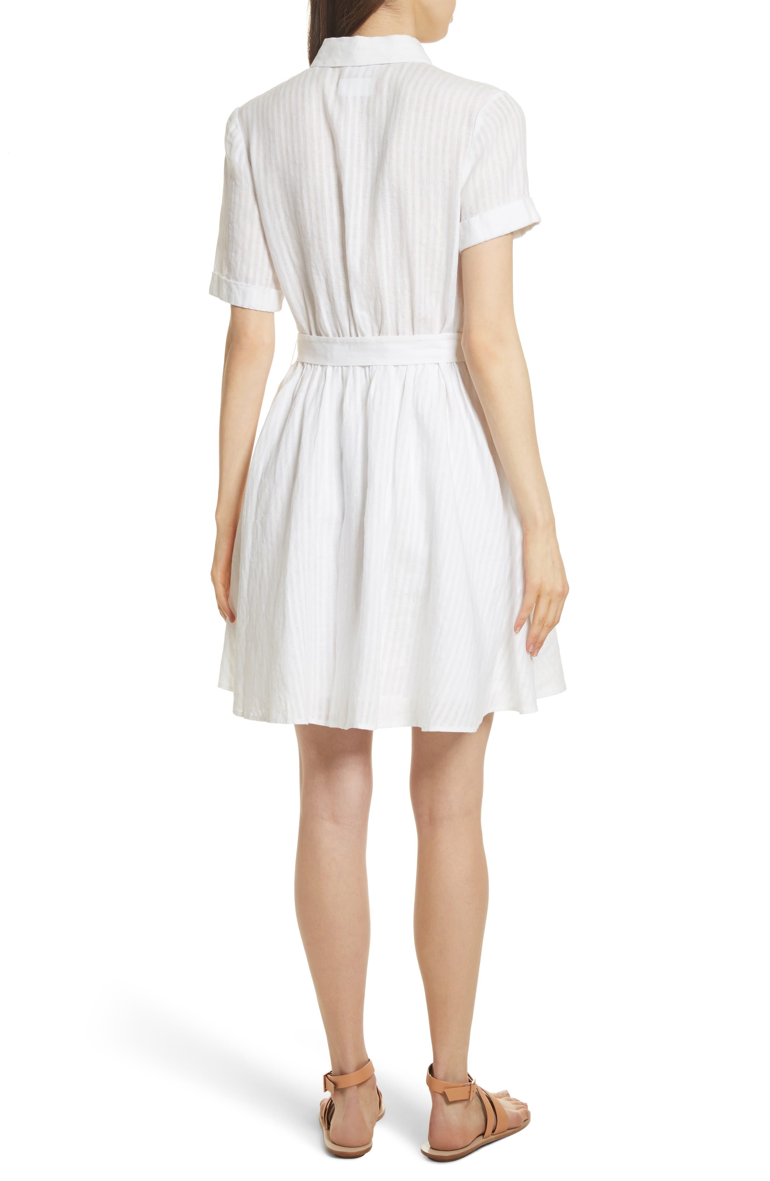 Belted Linen Dress,                             Alternate thumbnail 2, color,                             Blanc
