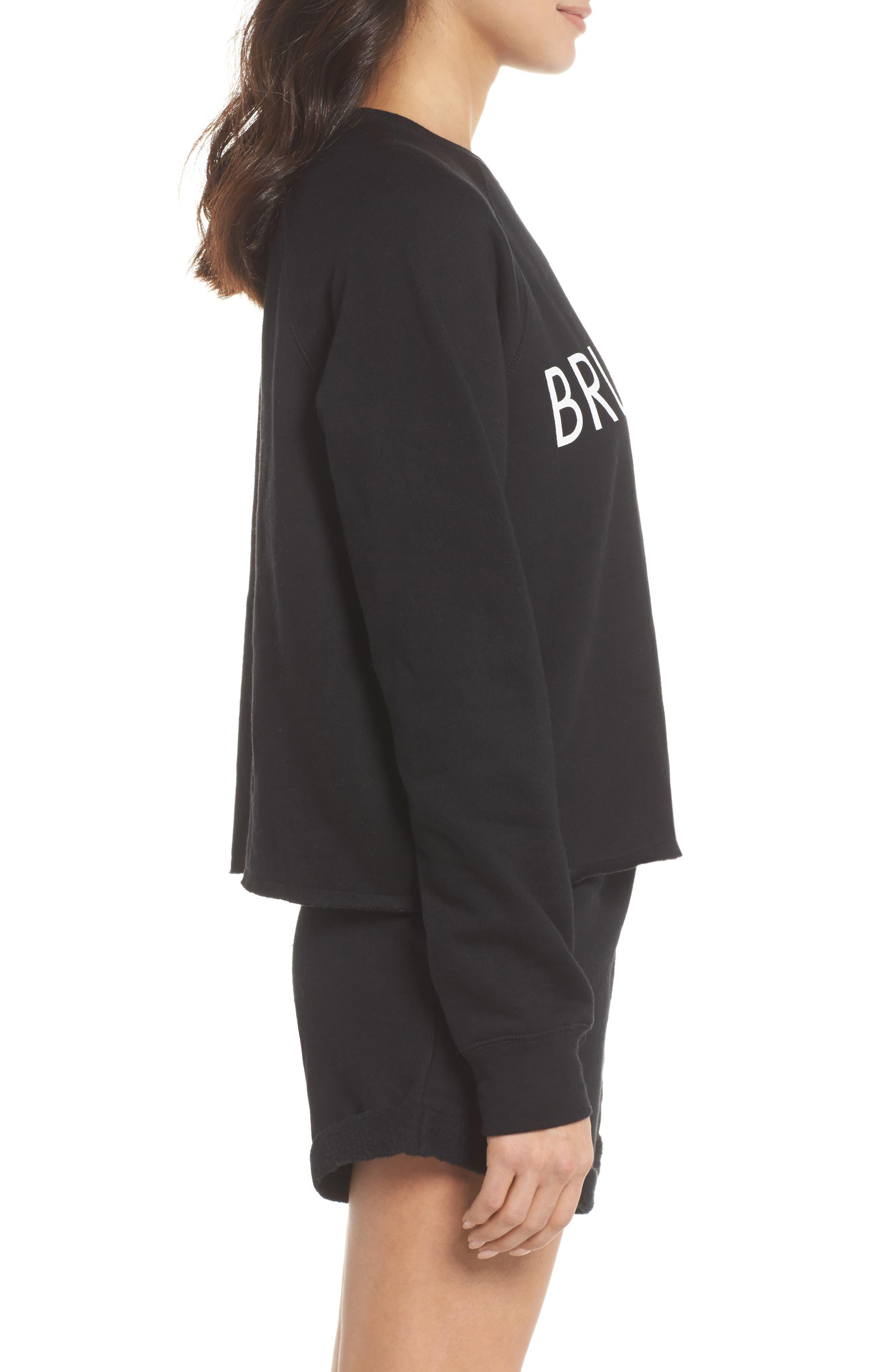 Brunette Raw Hem Sweatshirt,                             Alternate thumbnail 3, color,                             Black