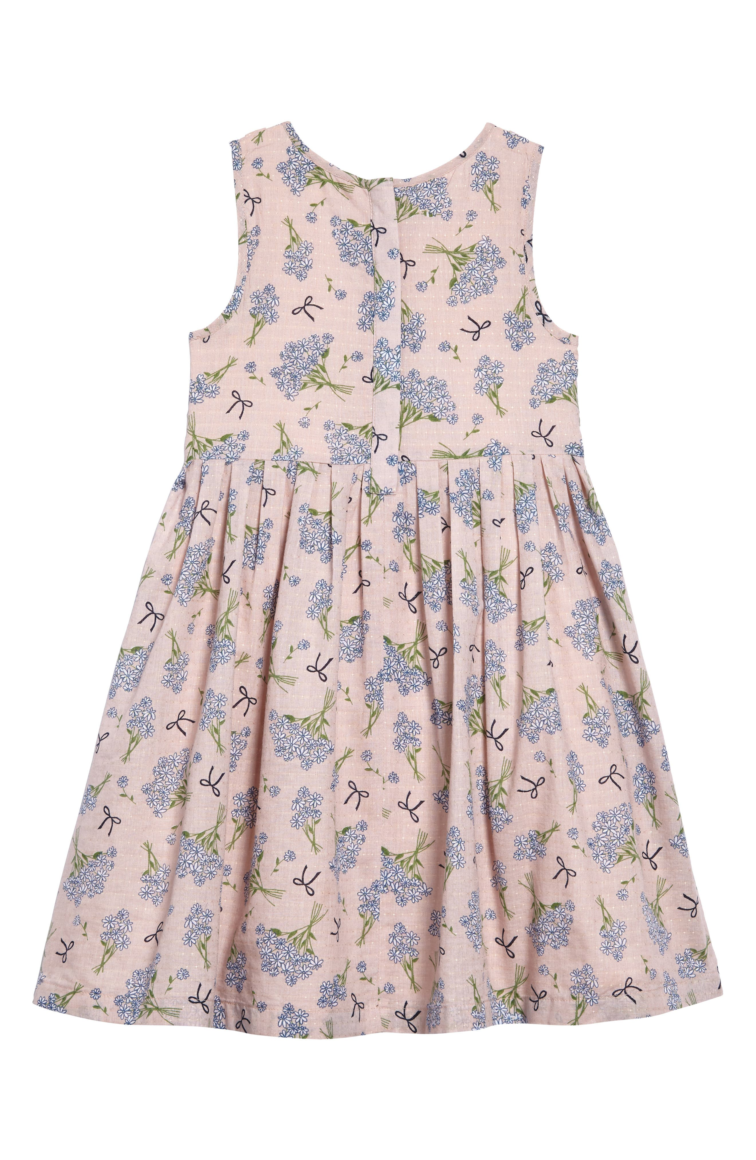 Dobby Floral Pleat Dress,                             Alternate thumbnail 2, color,                             Pink Peach Spring Floral