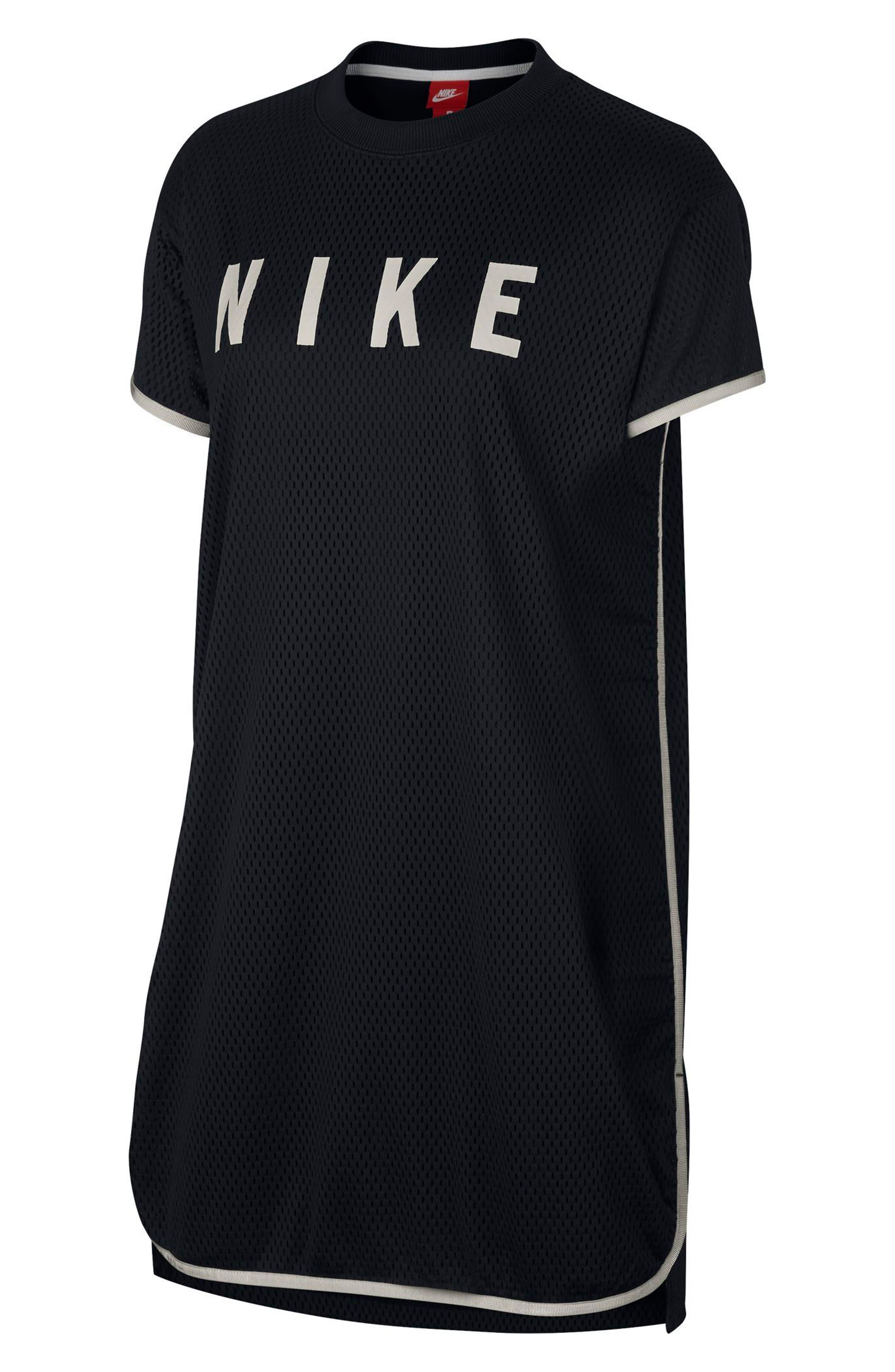 Sportswear Short Sleeve Dri-FIT Mesh T-Shirt Dress,                             Main thumbnail 1, color,                             Black/ Light Bone