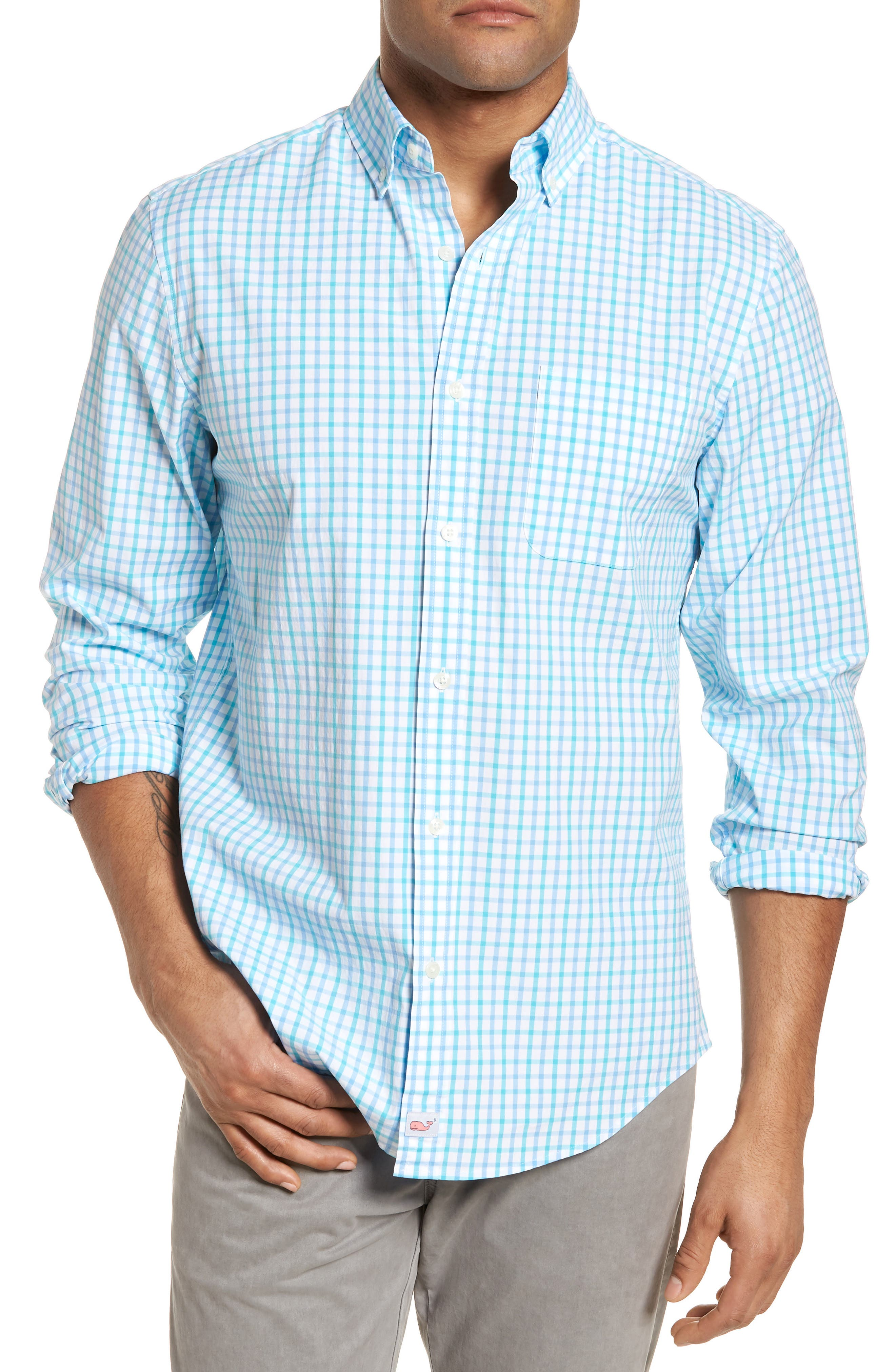 The Marls Classic Fit Stretch Check Sport Shirt,                         Main,                         color, Turquoise