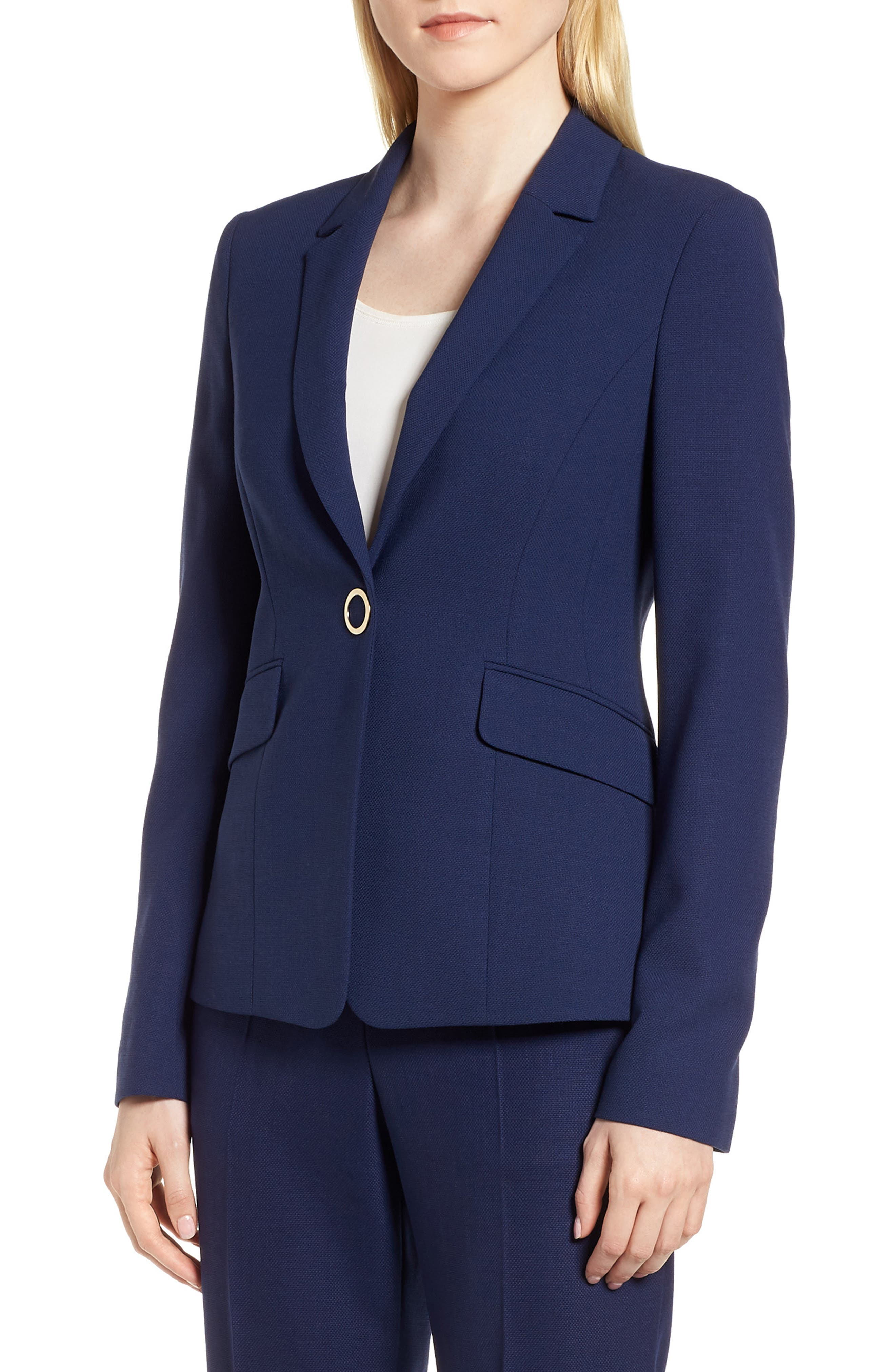 Jibalena Textured Stretch Wool Suit Jacket,                         Main,                         color, Nautical
