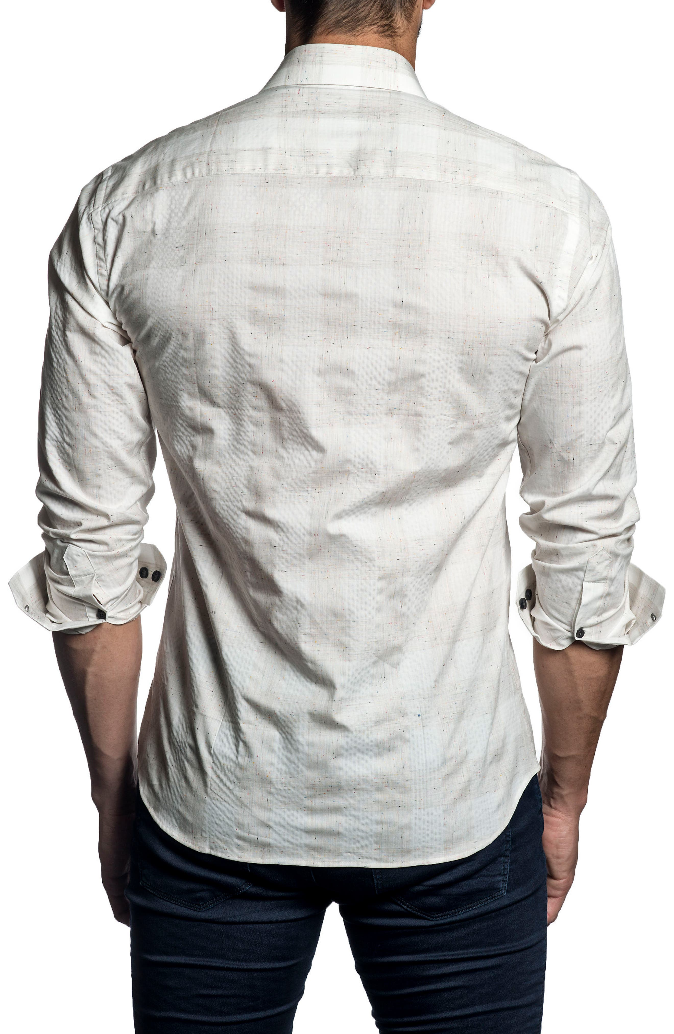 Trim Fit Check Sport Shirt,                             Alternate thumbnail 2, color,                             White Heather Plaid