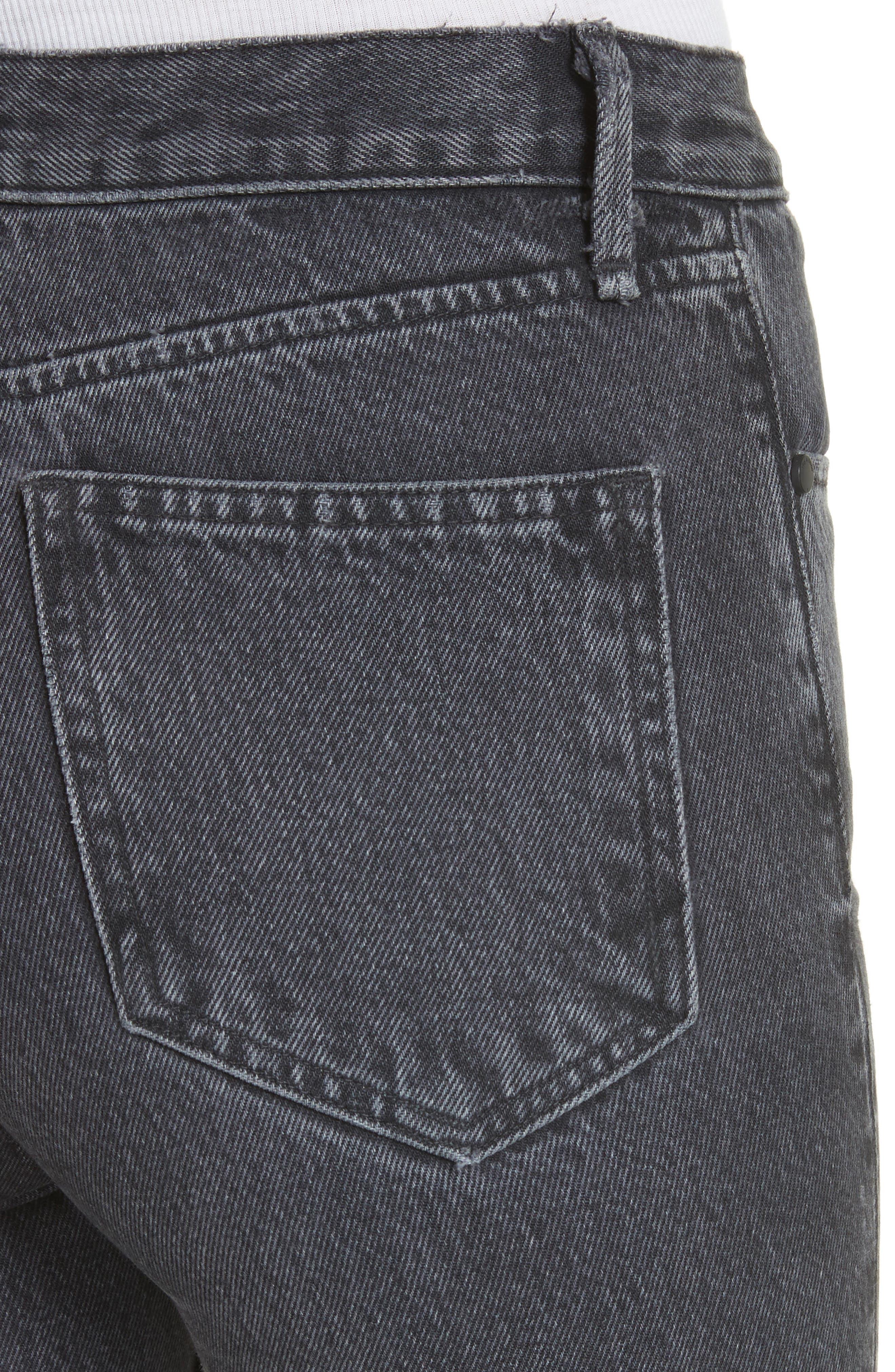 Dylan High Waist Crop Kick Flare Jeans,                             Alternate thumbnail 4, color,                             Grey Kuro