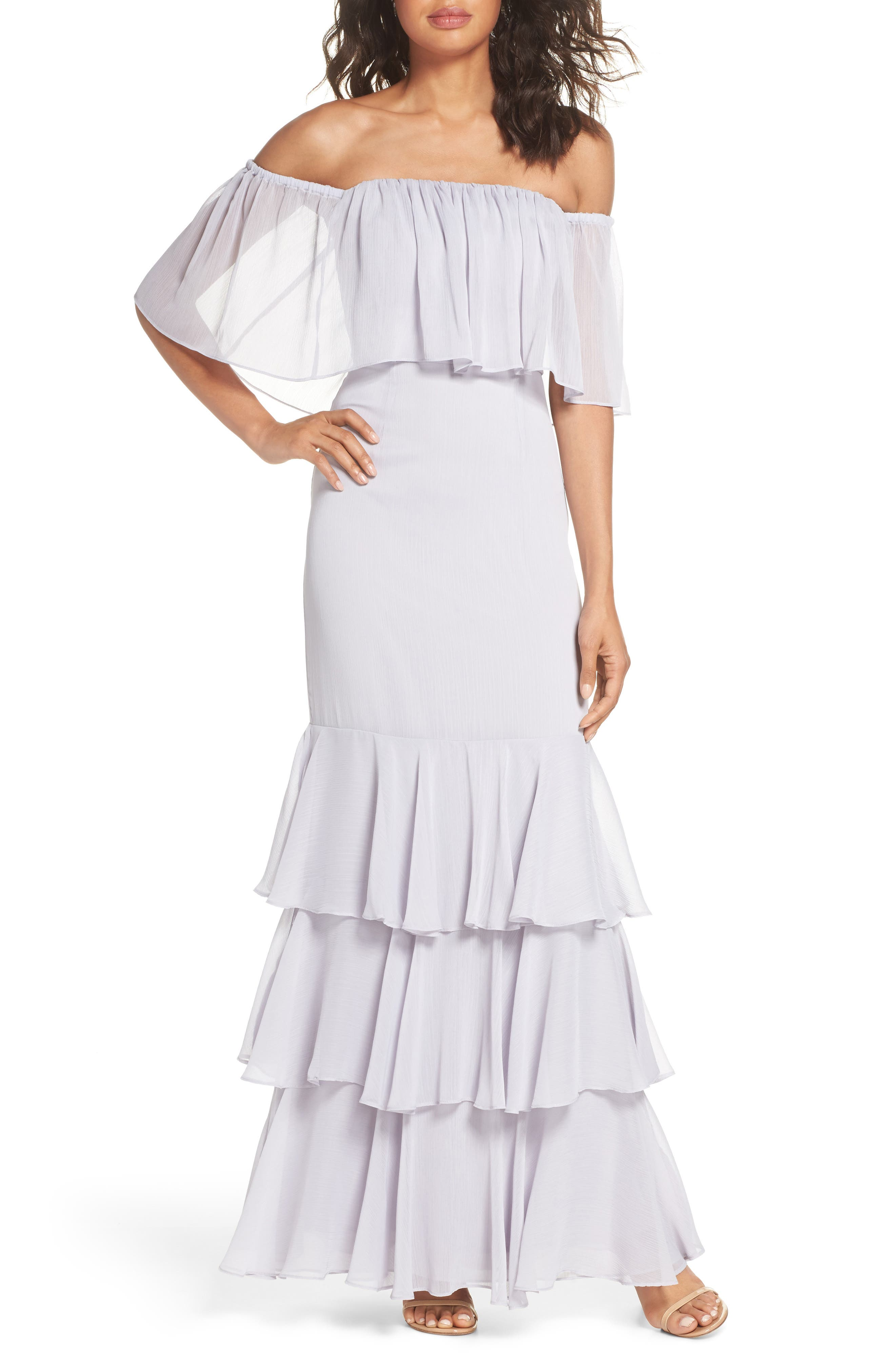 Penelope Off the Shoulder Popover Gown,                             Main thumbnail 1, color,                             Ice Marble