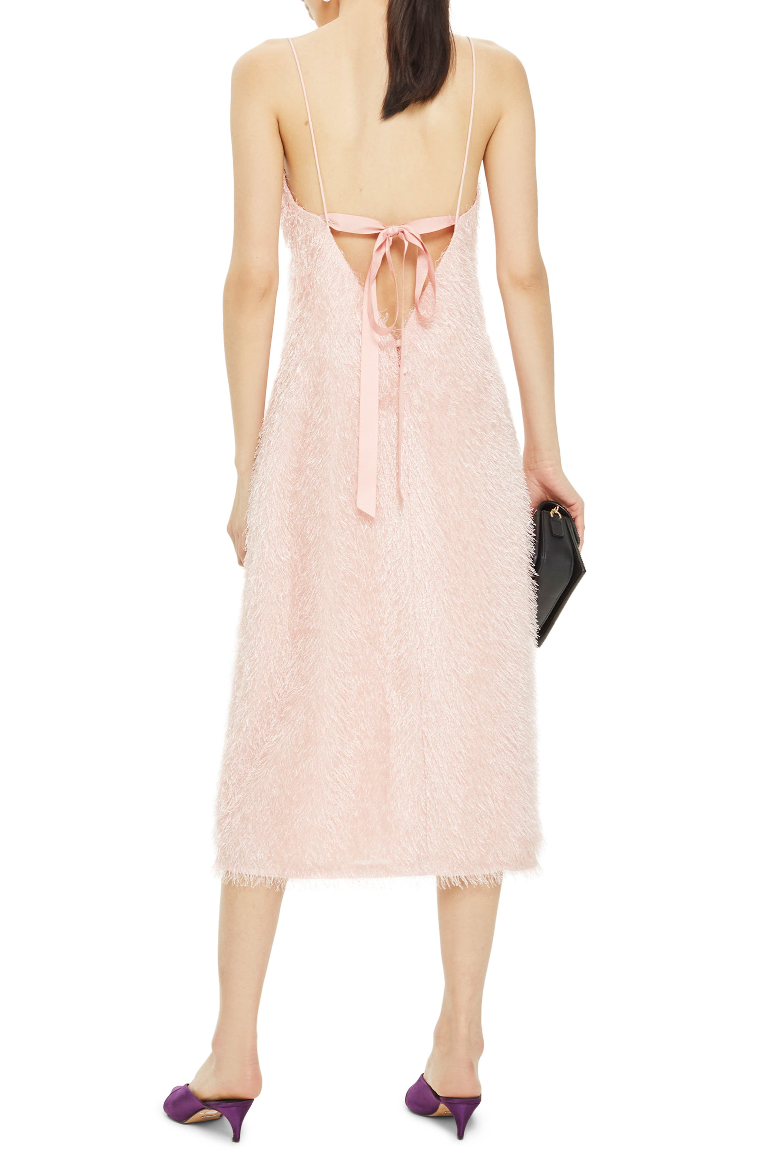 Feather Strappy Midi Dress,                             Alternate thumbnail 3, color,                             Blush