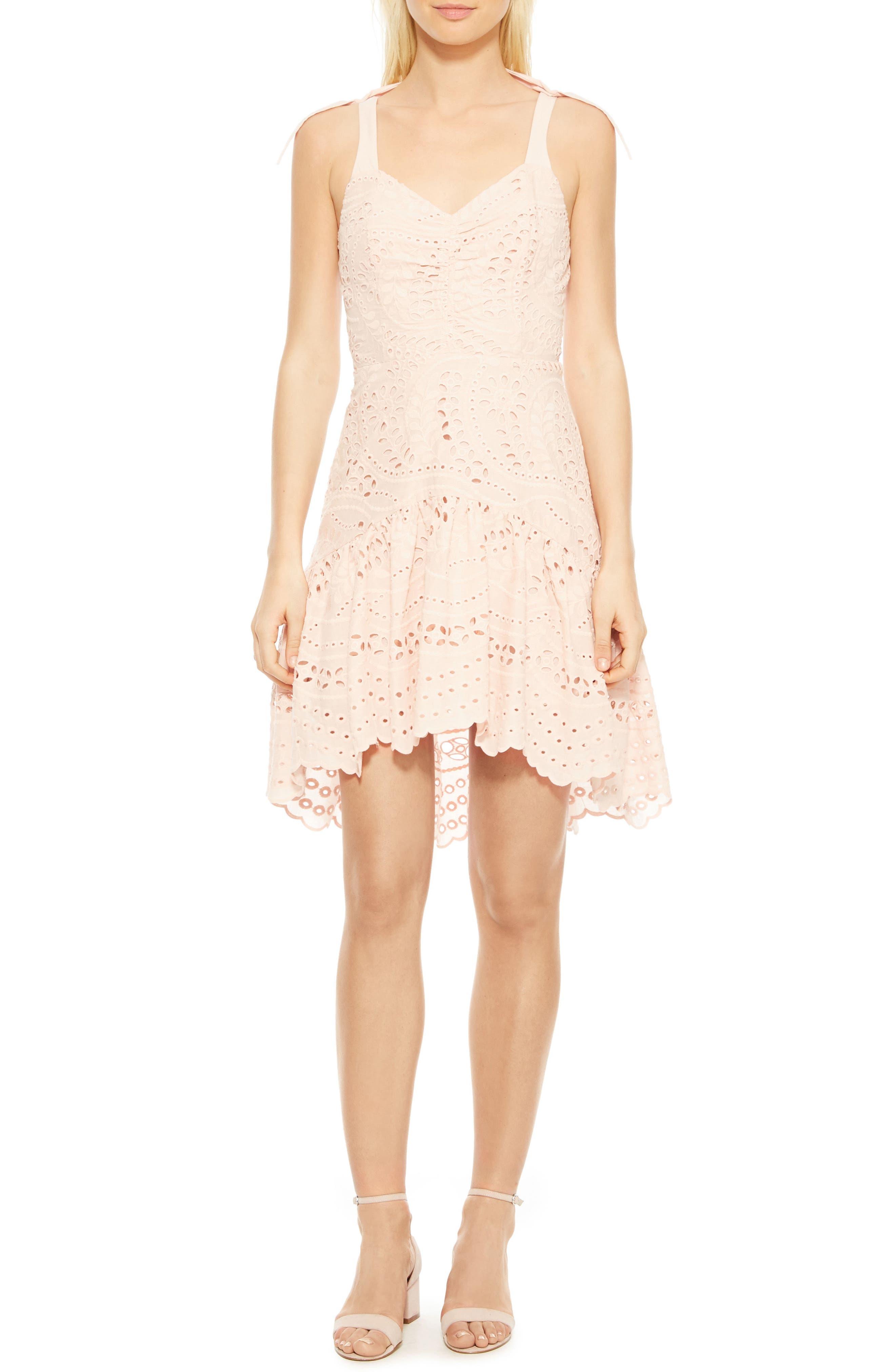 Odysseia Eyelet Cotton Dress,                         Main,                         color, Pearl Blush