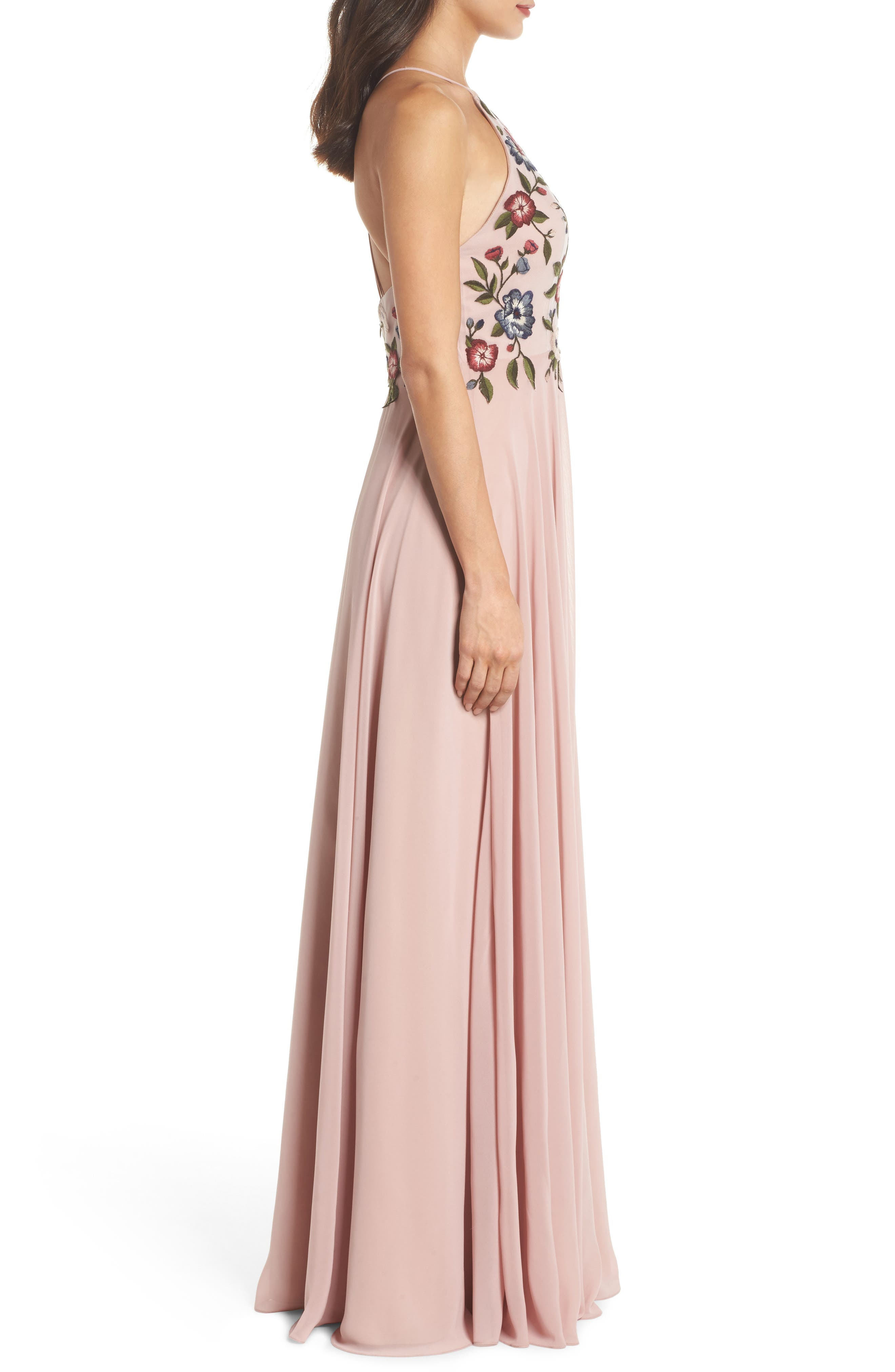 Sophie Embroidered Luxe Chiffon Gown,                             Alternate thumbnail 3, color,                             Whipped Apricot