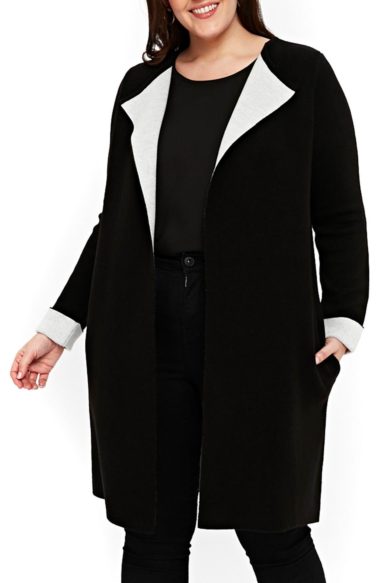 Contrast Cardigan Coat,                             Main thumbnail 1, color,                             Black