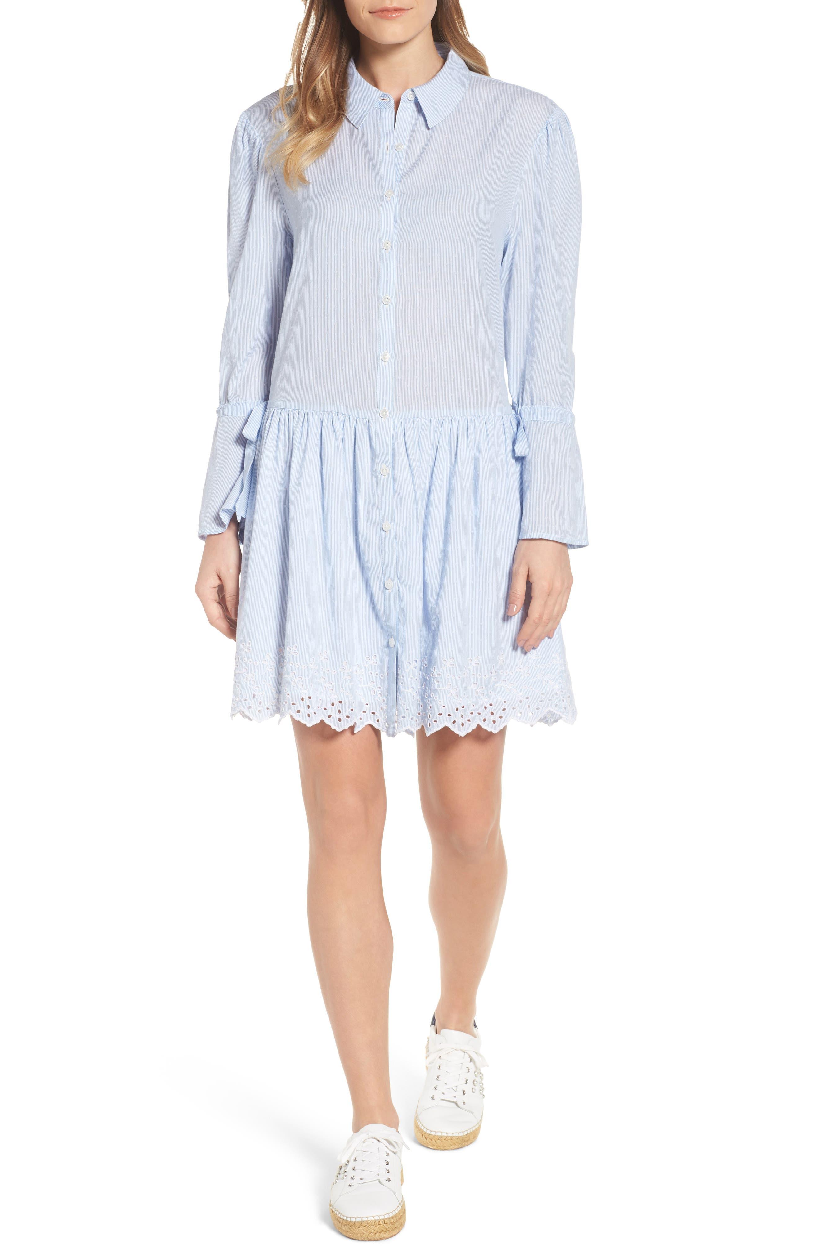 Pinstripe Eyelet Trim Cotton Shirtdress,                             Main thumbnail 1, color,                             Blue- White Stripe
