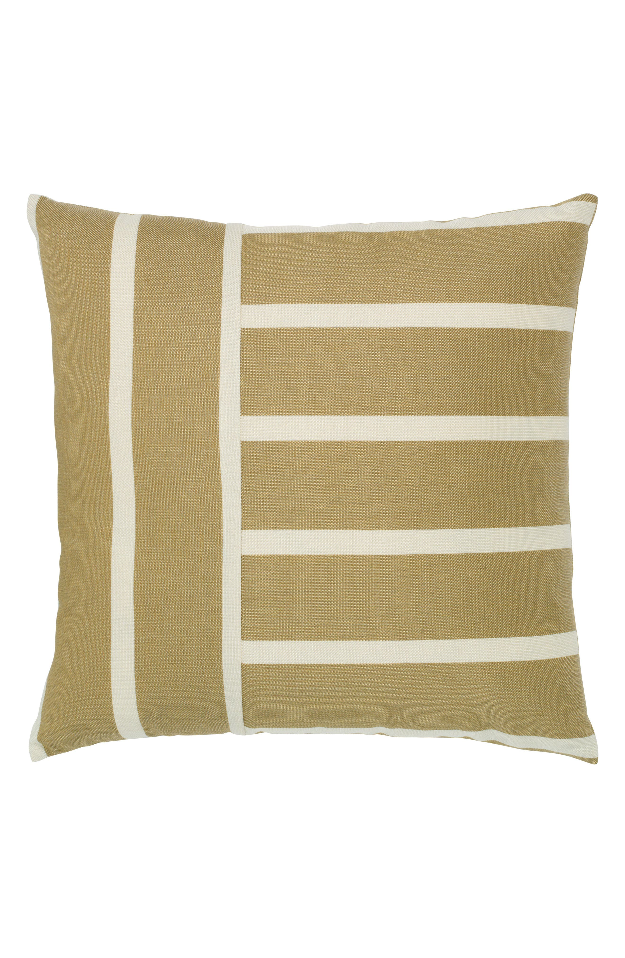 Shine Stripe Indoor/Outdoor Accent Pillow,                             Main thumbnail 1, color,                             Brown