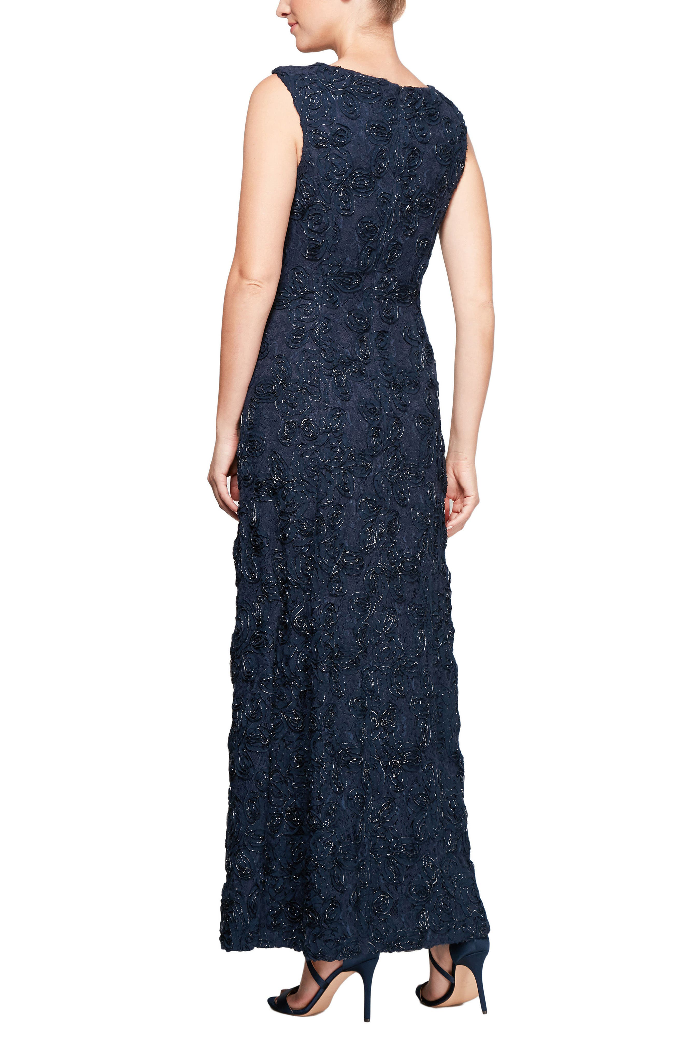 Beaded Rosette Lace Gown,                             Alternate thumbnail 2, color,                             Navy