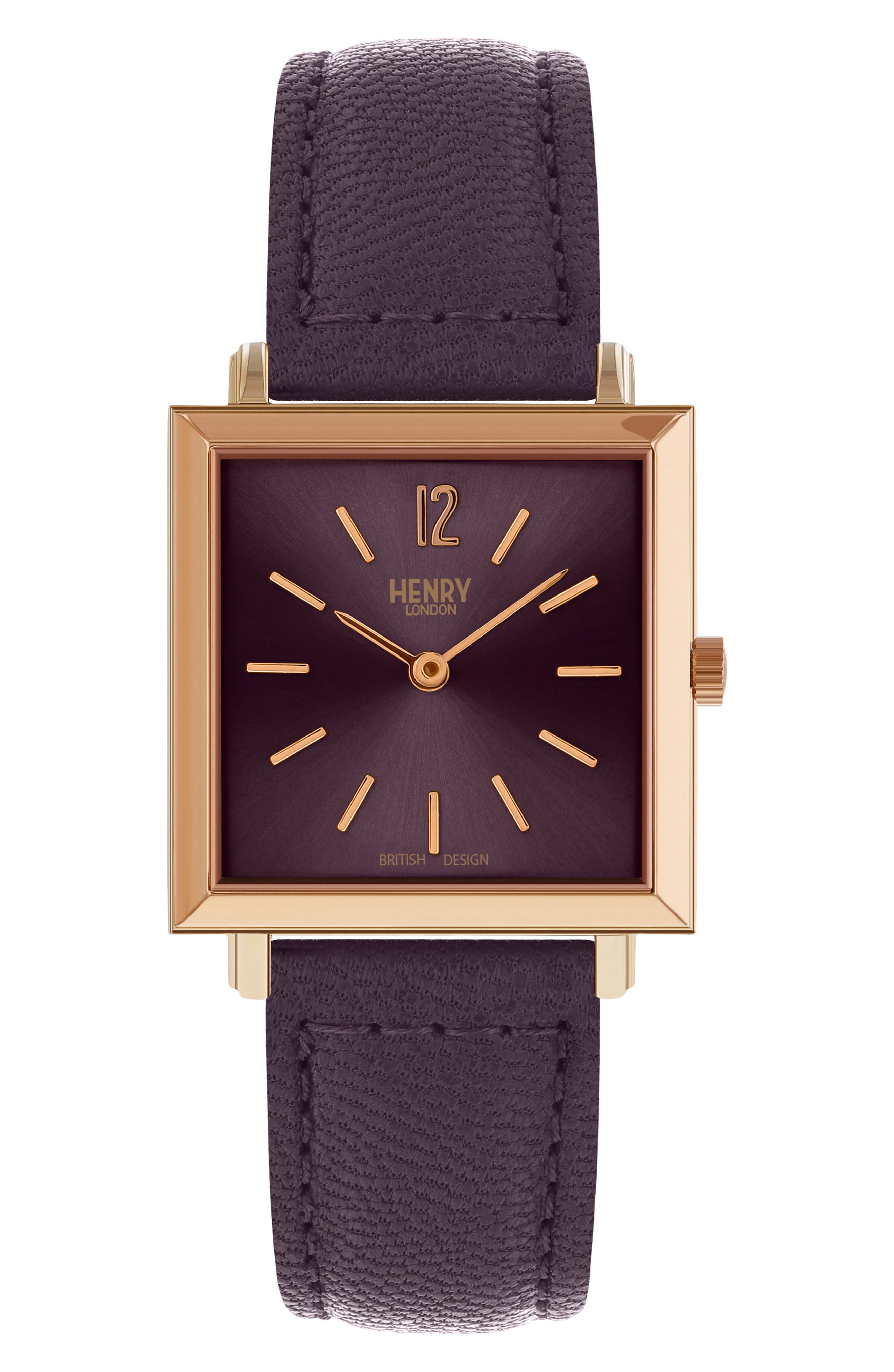 HENRY LONDON Heritage Leather Strap Watch, 26Mm in Purple/ Rose Gold
