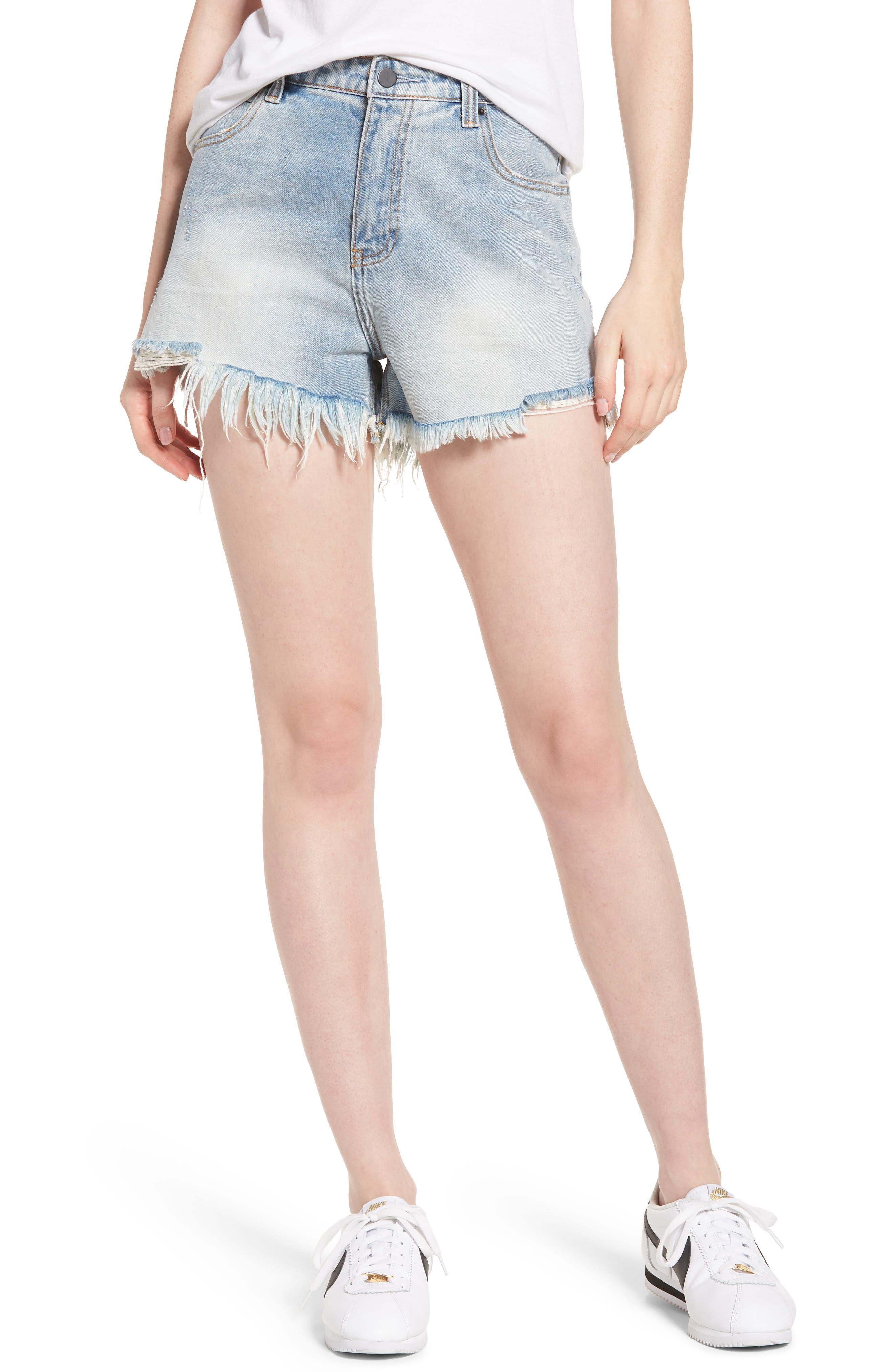 Arien High Waist Cutoff Denim Shorts,                         Main,                         color, Washed Blue