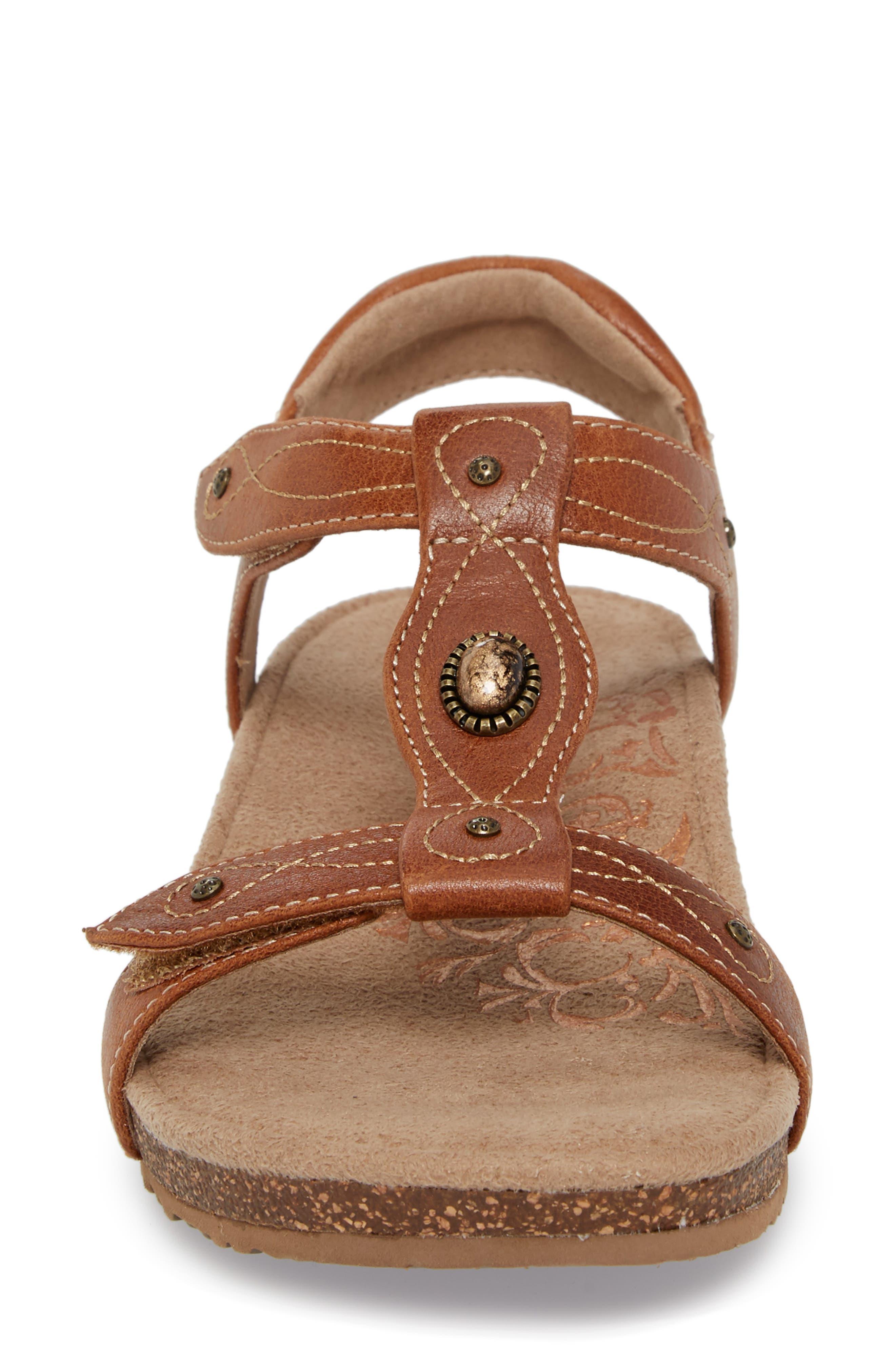 'Lori' Sandal,                             Alternate thumbnail 4, color,                             Cognac Leather