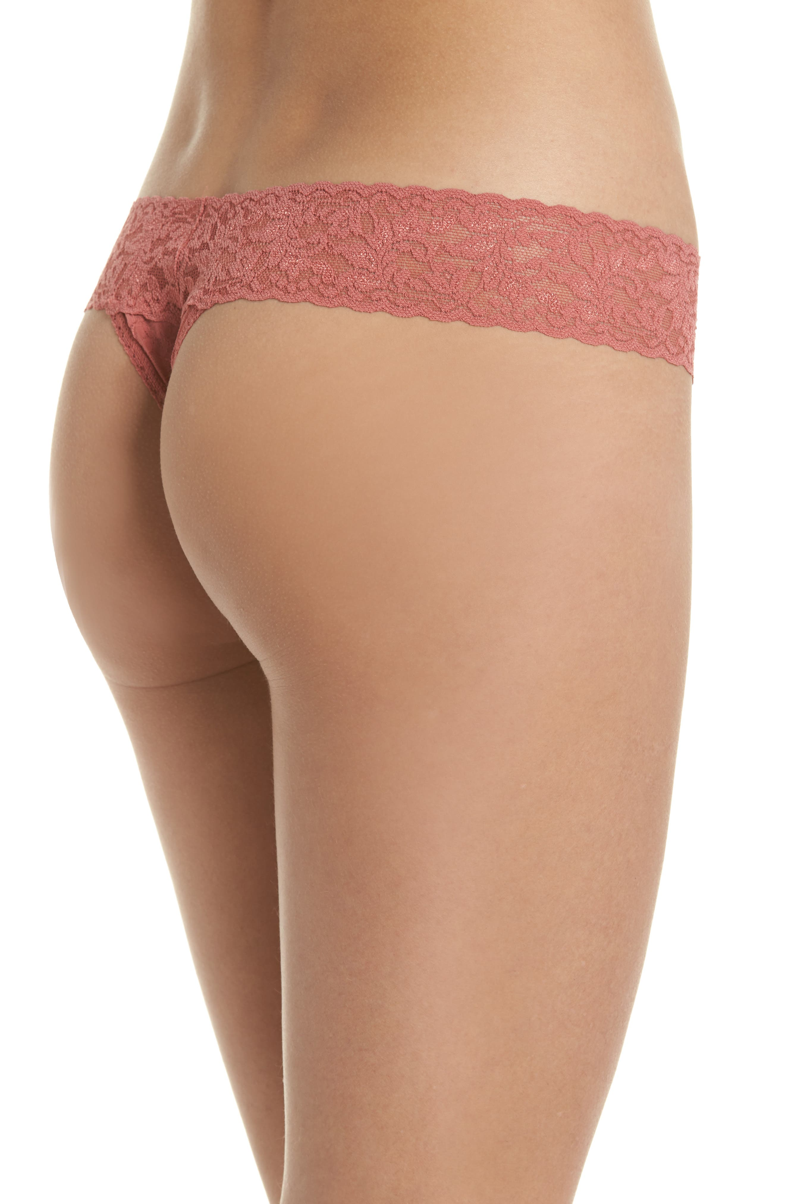 Signature Lace Low Rise Thong,                             Alternate thumbnail 2, color,                             Pink Sands