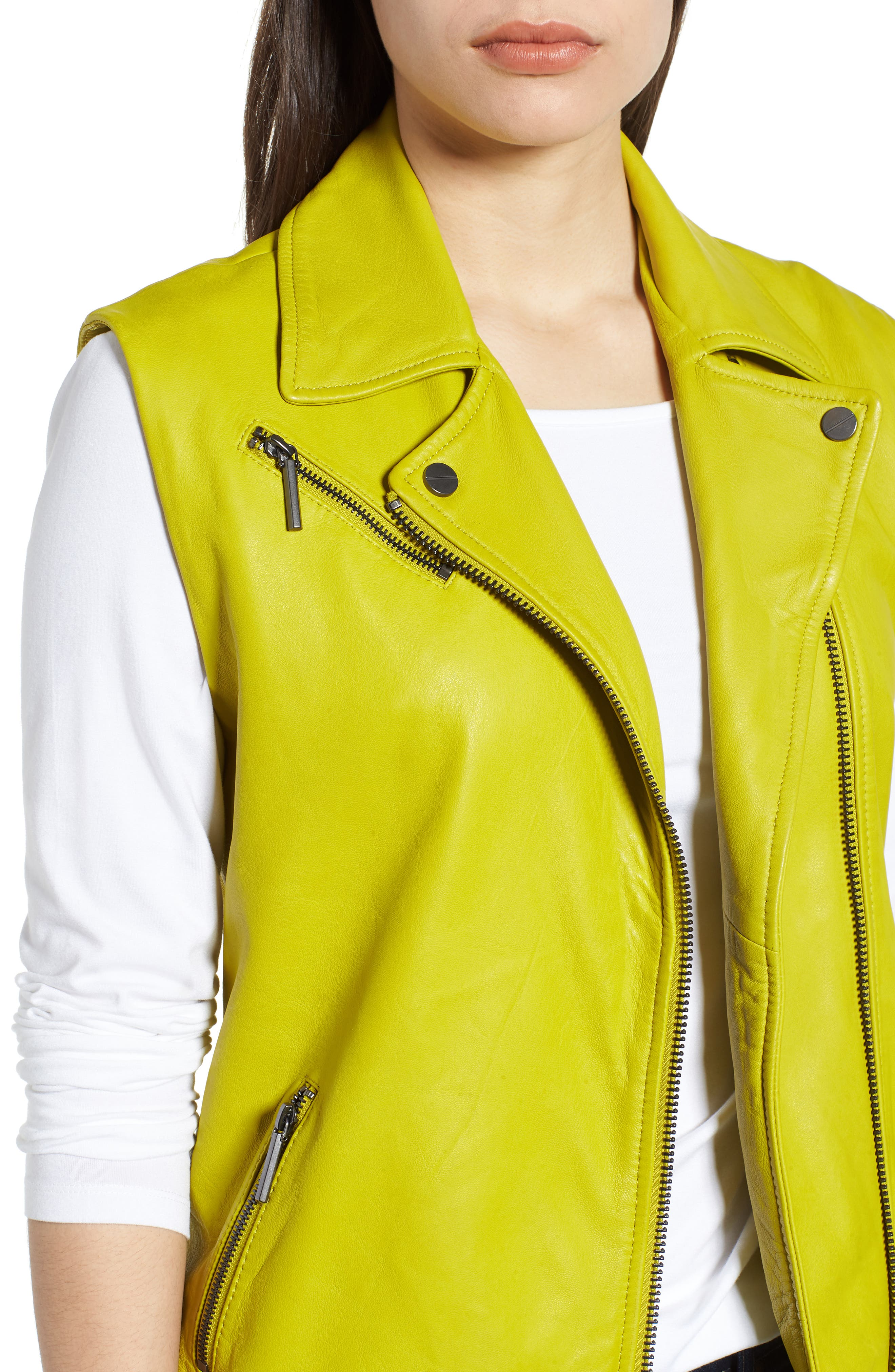 Washed Green Leather Moto Vest,                             Alternate thumbnail 4, color,                             Canary
