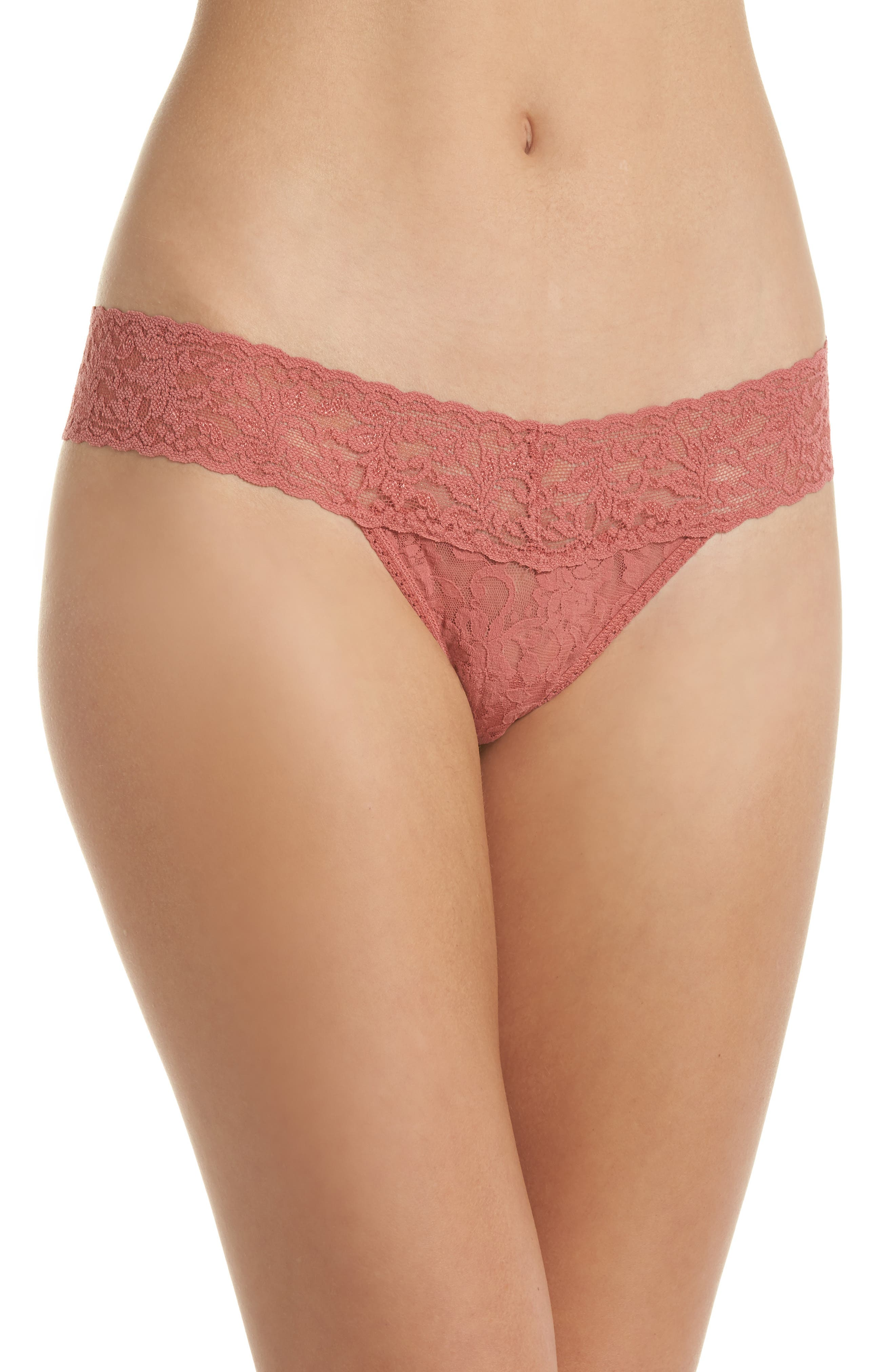 Signature Lace Low Rise Thong,                             Main thumbnail 1, color,                             Pink Sands