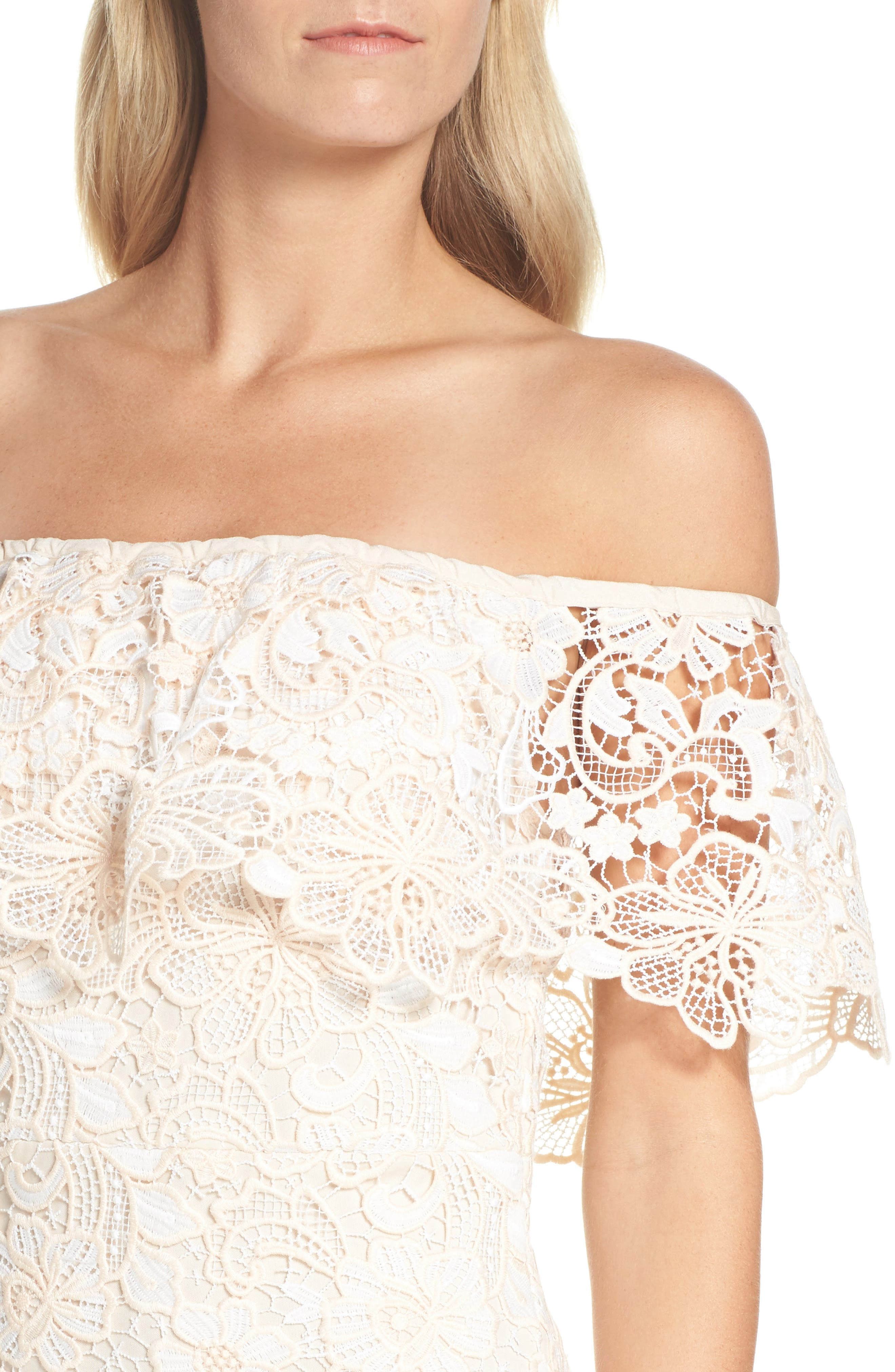 Off the Shoulder Lace Midi Dress,                             Alternate thumbnail 4, color,                             Ivory Floral