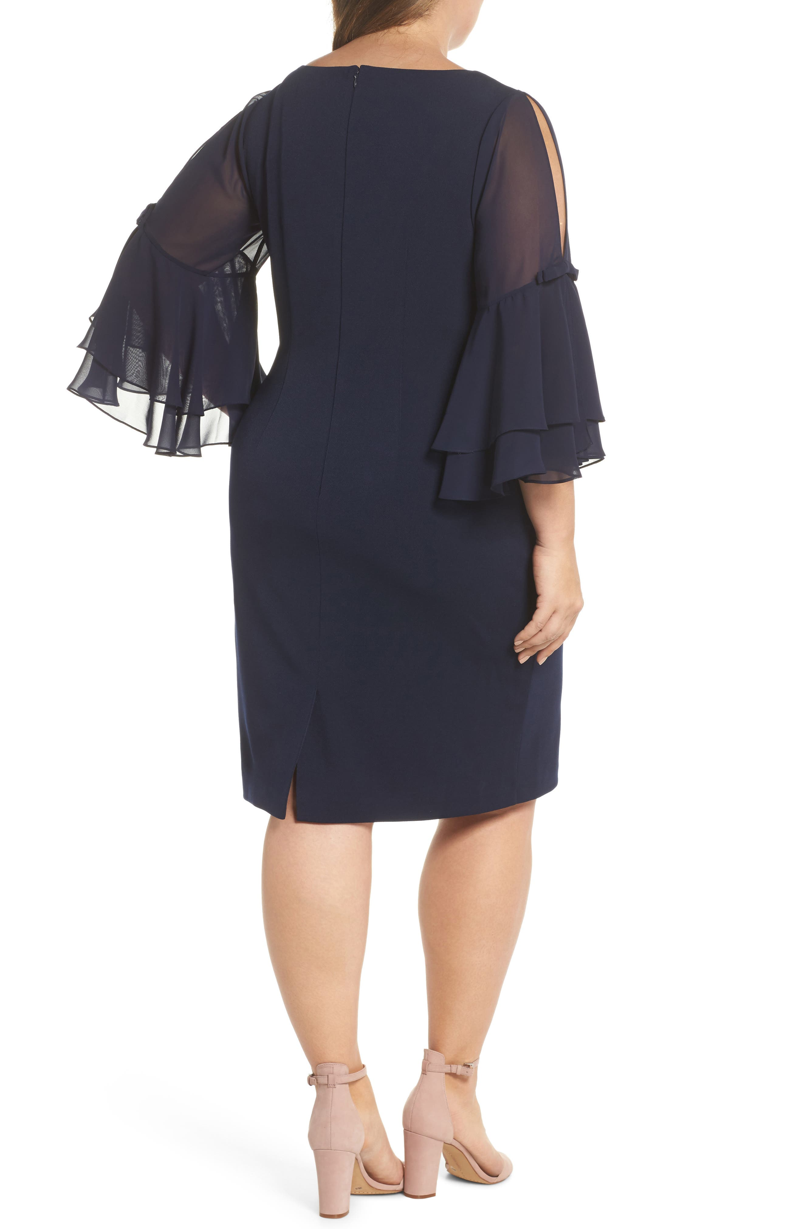 Bow Sleeve Chiffon Shift Dress,                             Alternate thumbnail 2, color,                             Navy