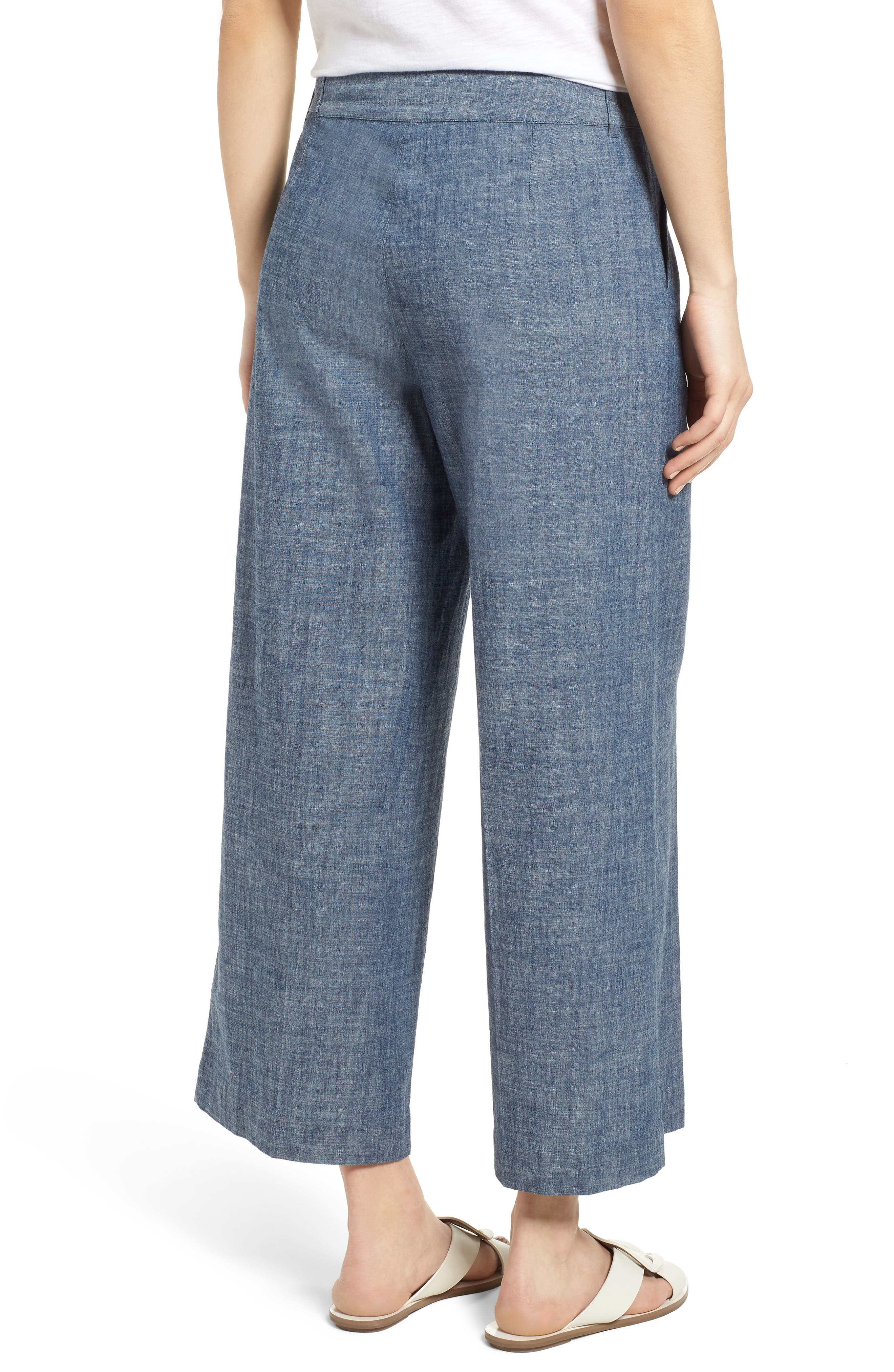 Wide Leg Crop Pants,                             Alternate thumbnail 2, color,                             Textured Navy