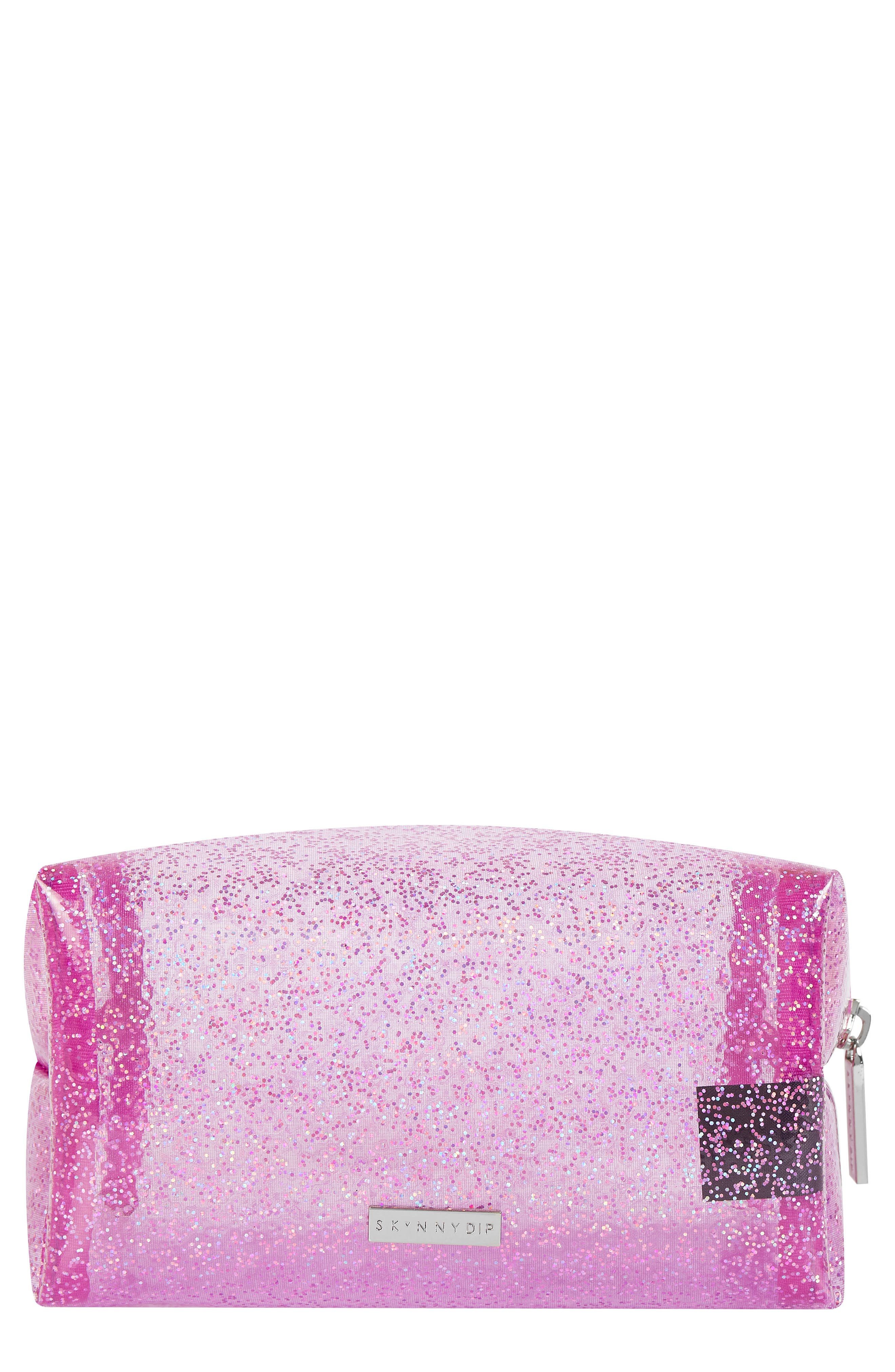 Skinny Dip Glitter Bomb Makeup Bag,                             Main thumbnail 1, color,                             No Color