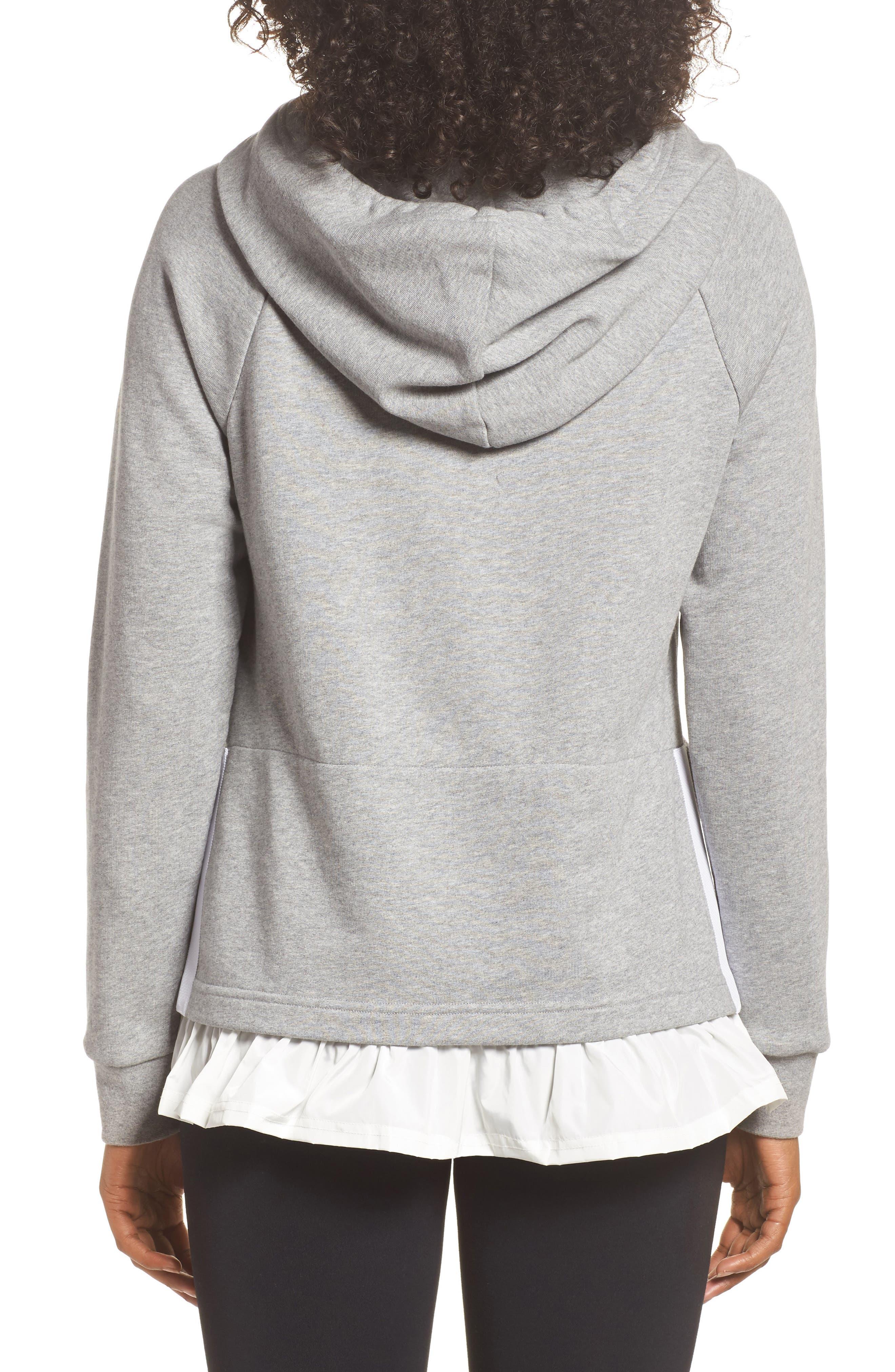 ruffle hoodie sweatshirt,                             Alternate thumbnail 2, color,                             Flint Heather