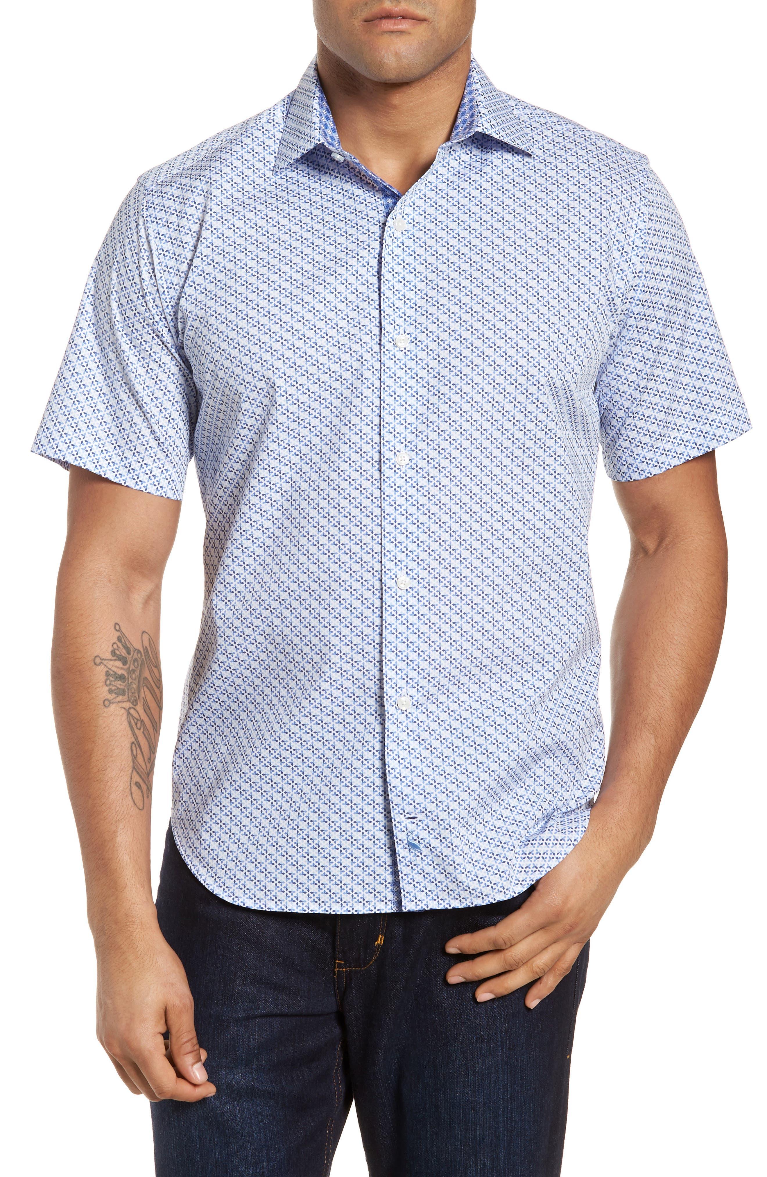 Shiloh Regular Fit Print Sport Shirt,                         Main,                         color, Light Blue