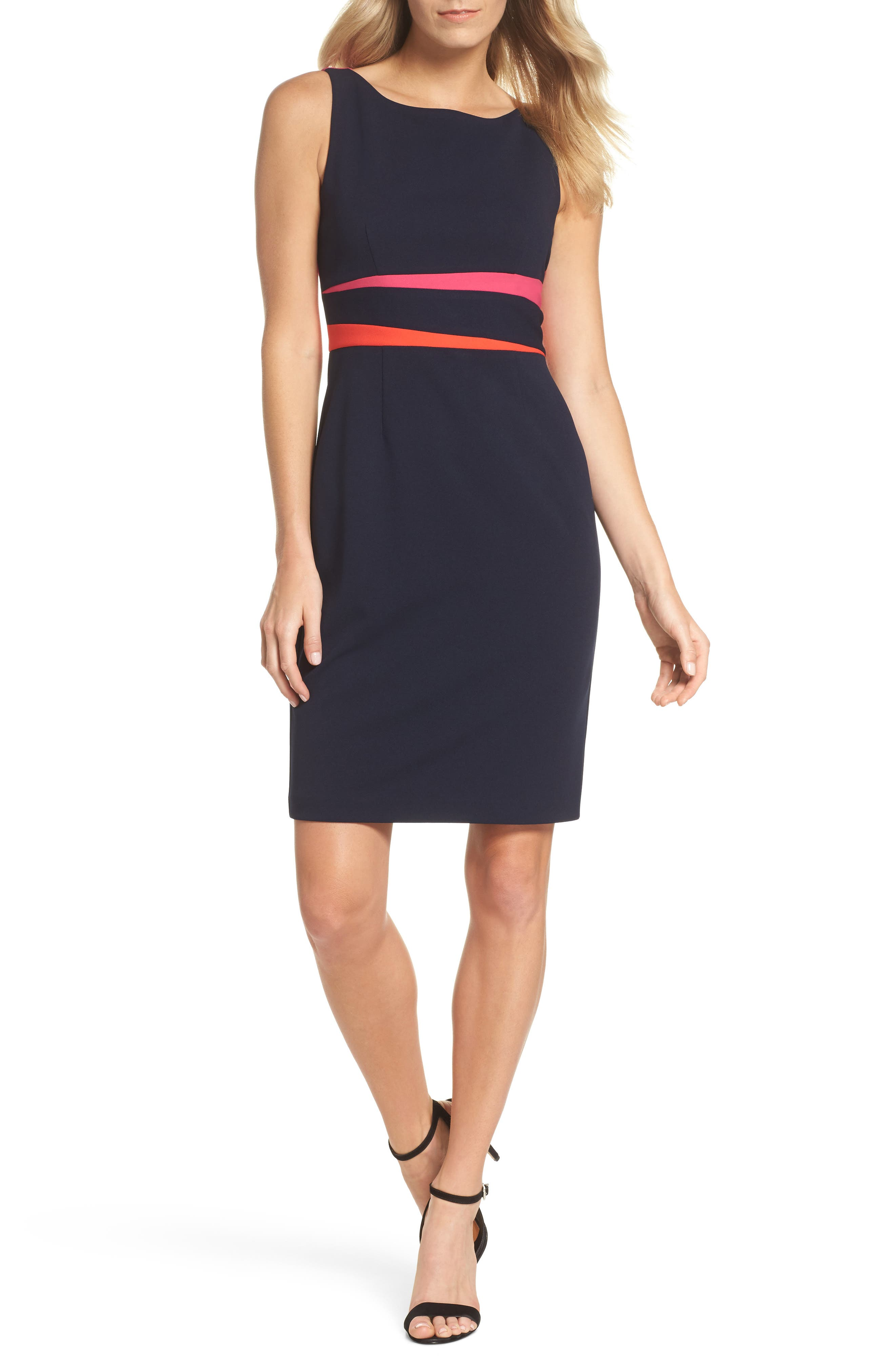 Sleeveless Colorblock Dress,                         Main,                         color, Navy/ Pink