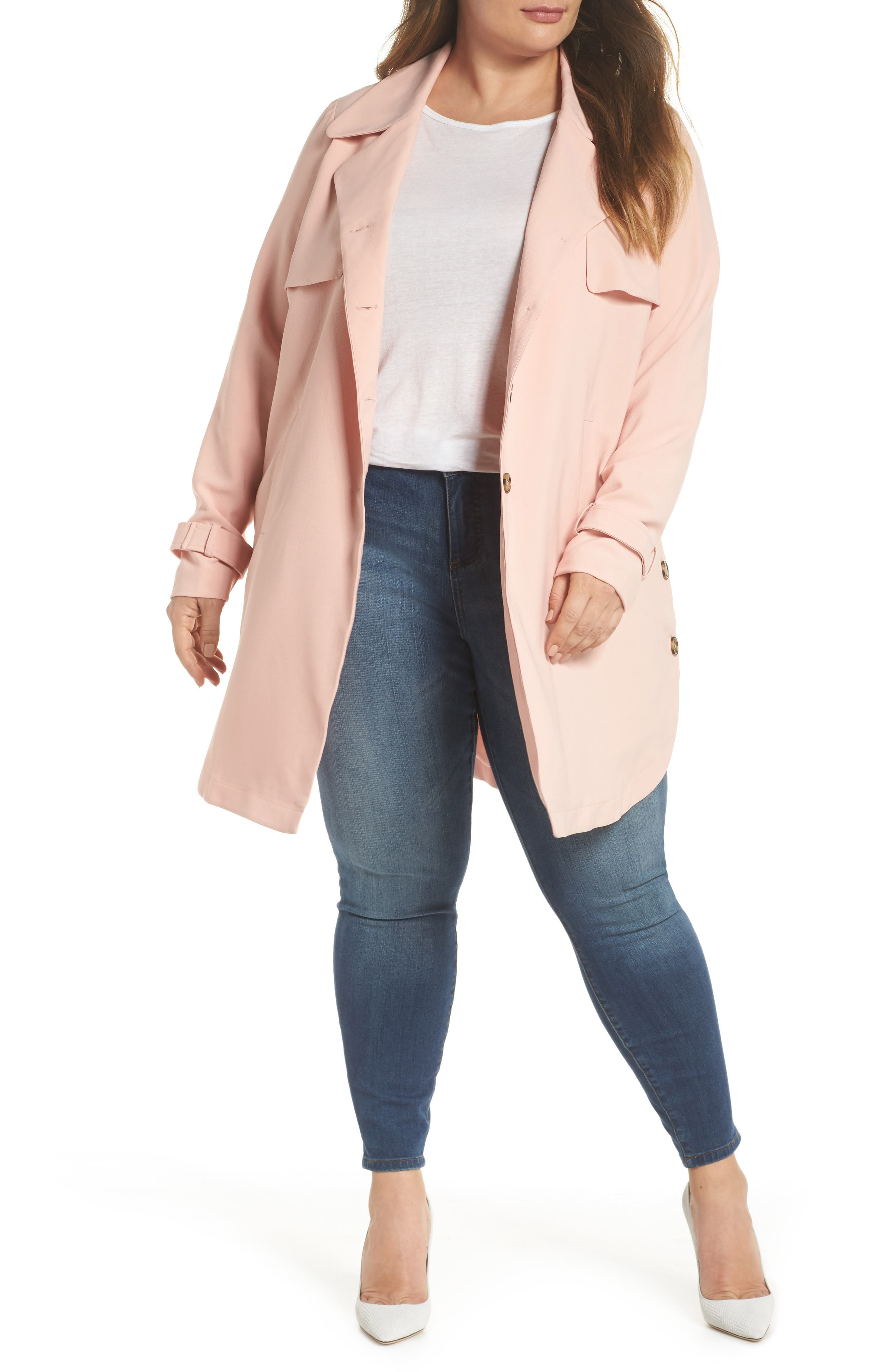 Marina Trench Coat,                             Alternate thumbnail 5, color,                             Coral Cloud