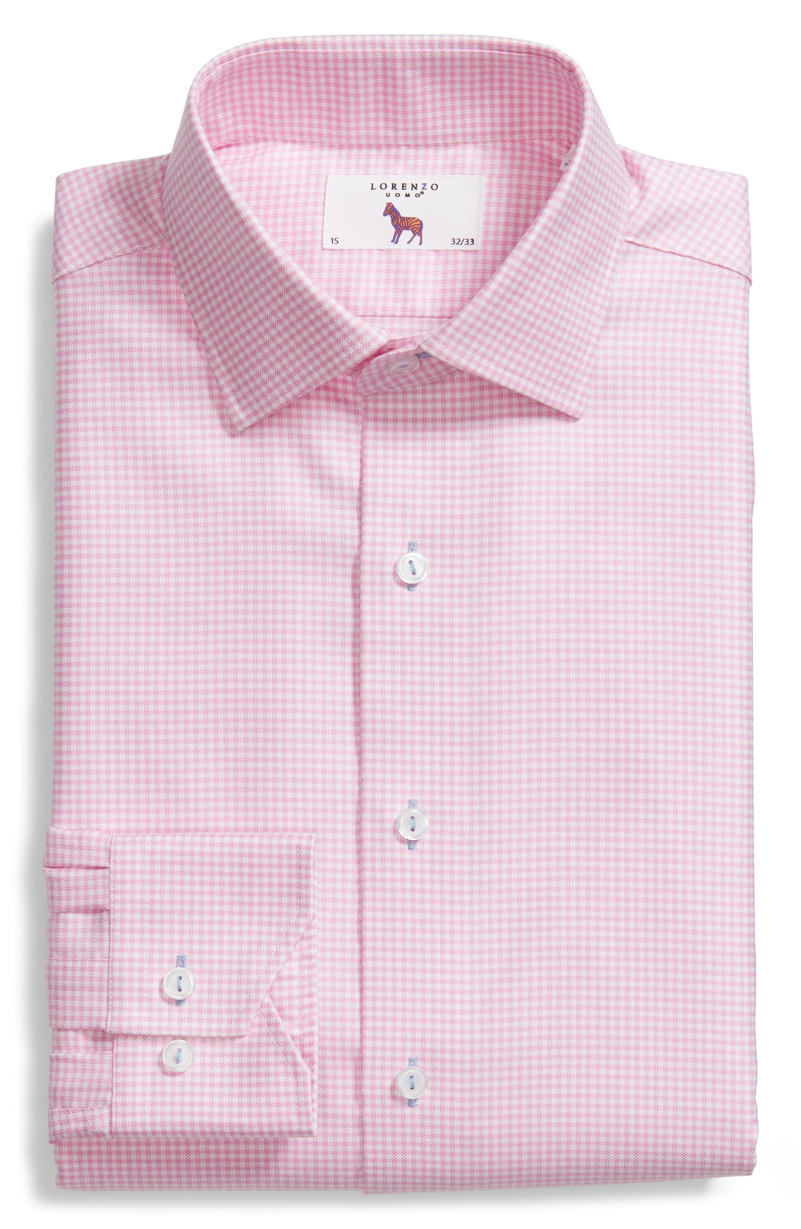 Trim Fit Textured Gingham Dress Shirt,                             Alternate thumbnail 6, color,                             Pink