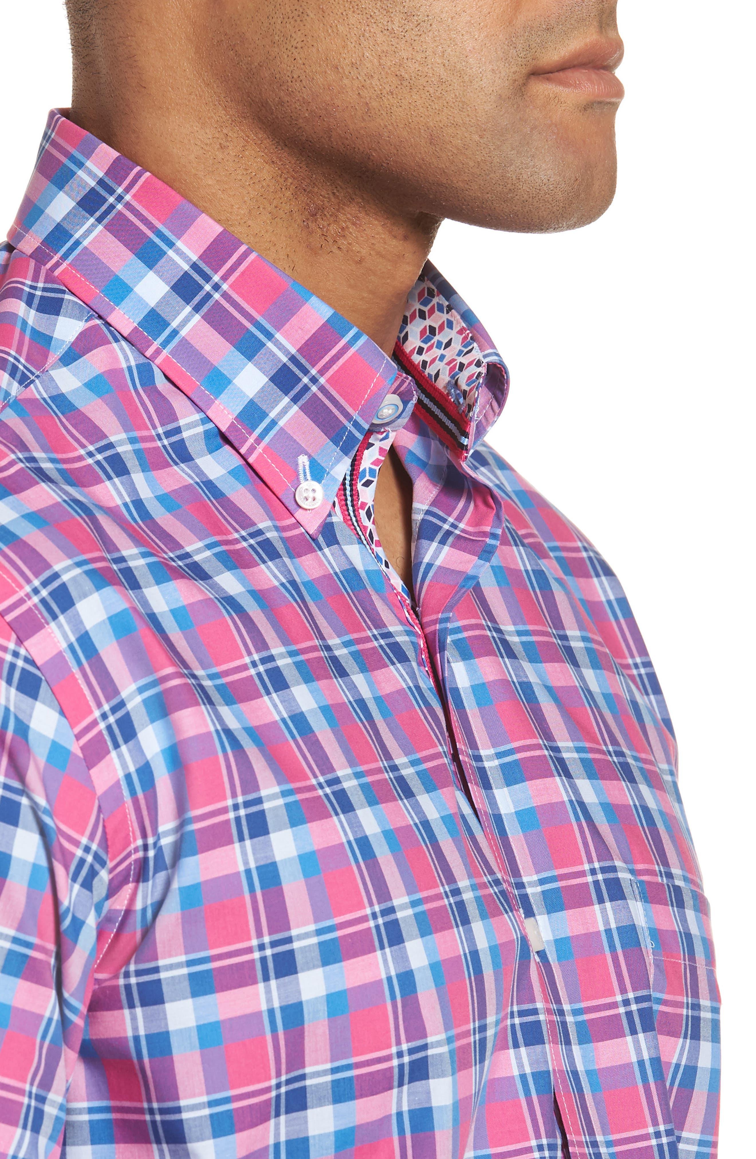 Sloane Regular Fit Plaid Sport Shirt,                             Alternate thumbnail 4, color,                             Pink