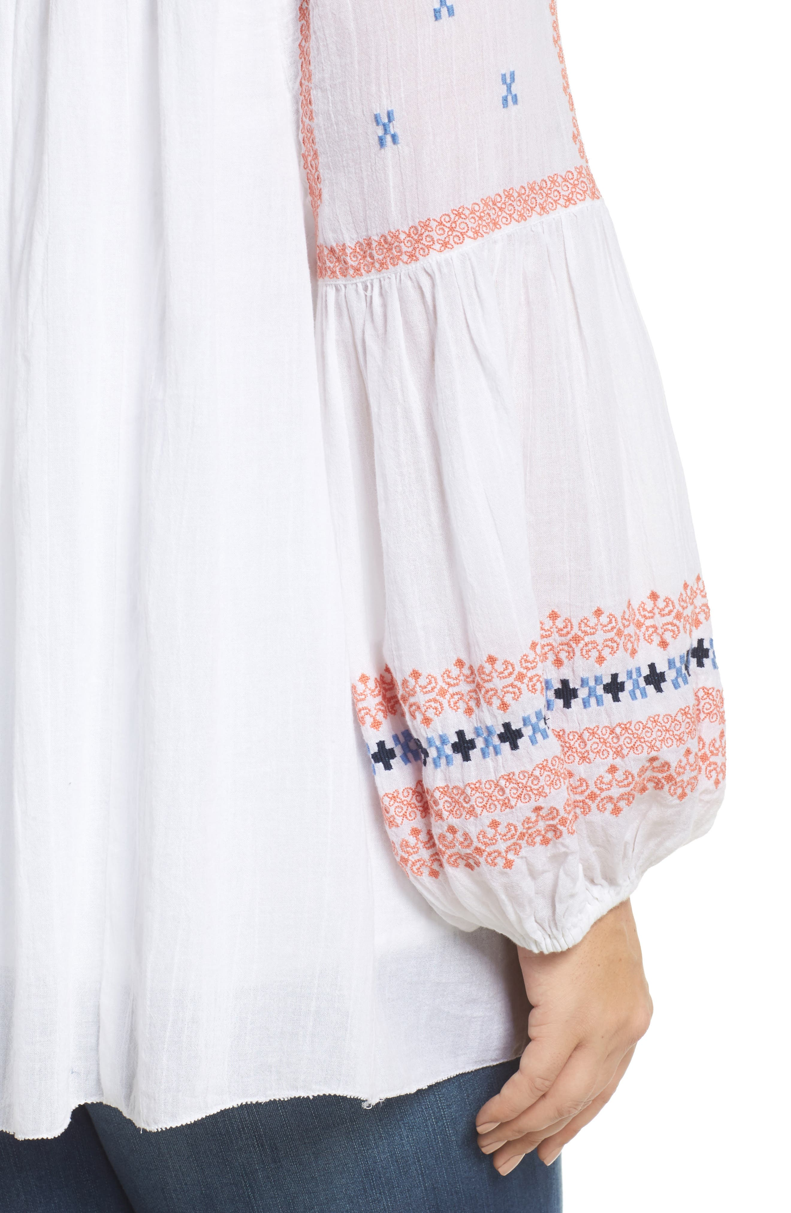 Embroidered Peasant Top,                             Alternate thumbnail 4, color,                             White- Coral Pattern