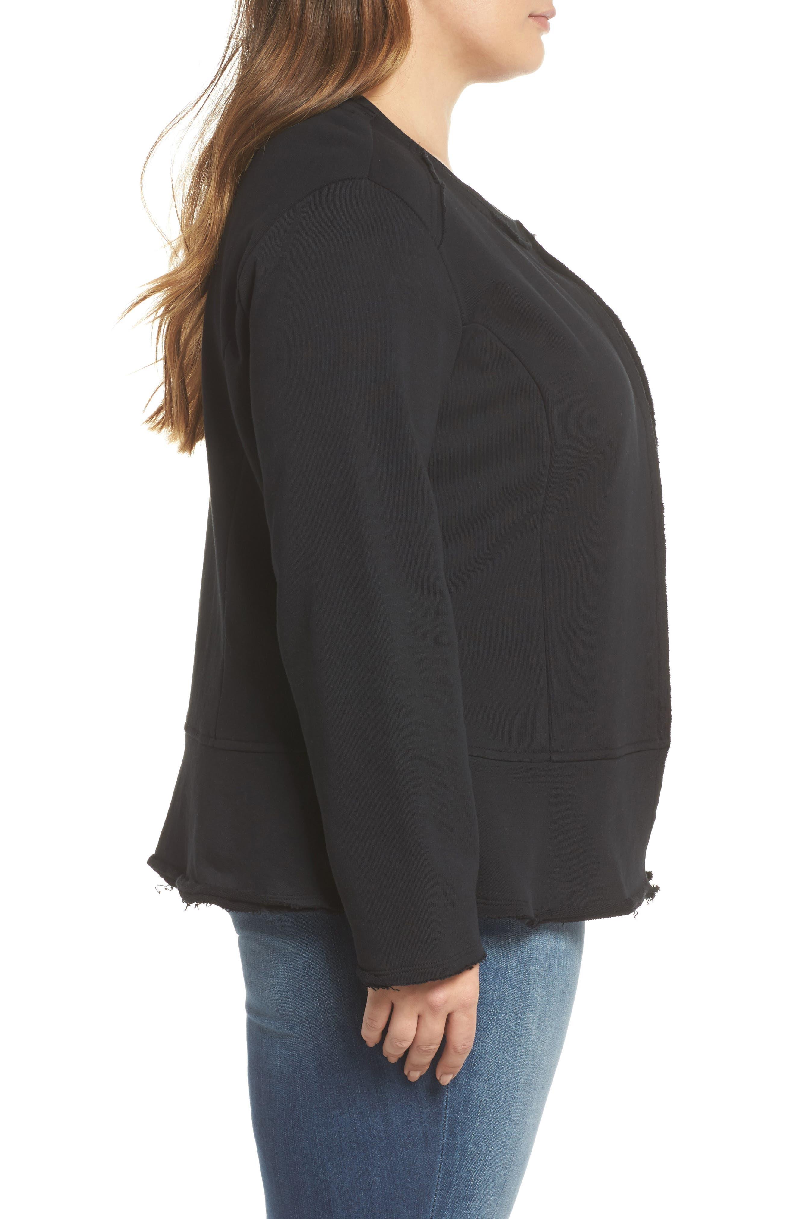 Knit Peplum Jacket,                             Alternate thumbnail 3, color,                             Black