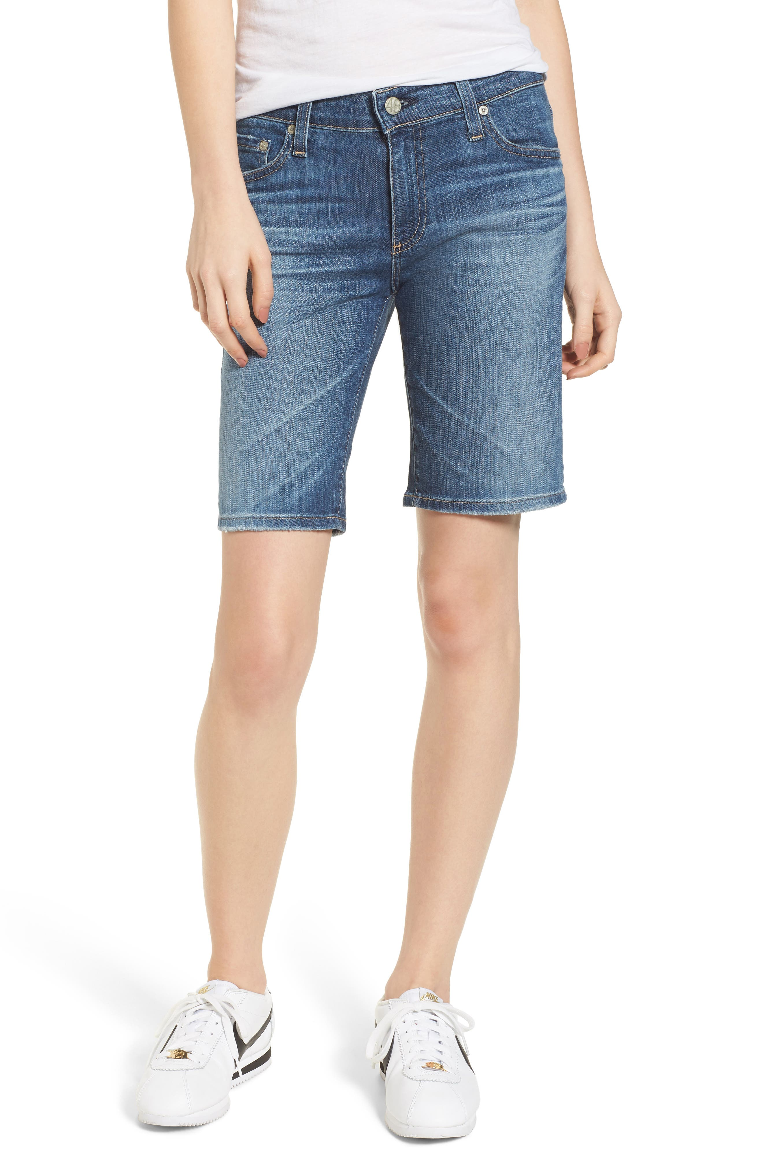 'Nikki' Distressed Denim Bermuda Shorts,                             Main thumbnail 1, color,                             11 Years Sapphire Sky