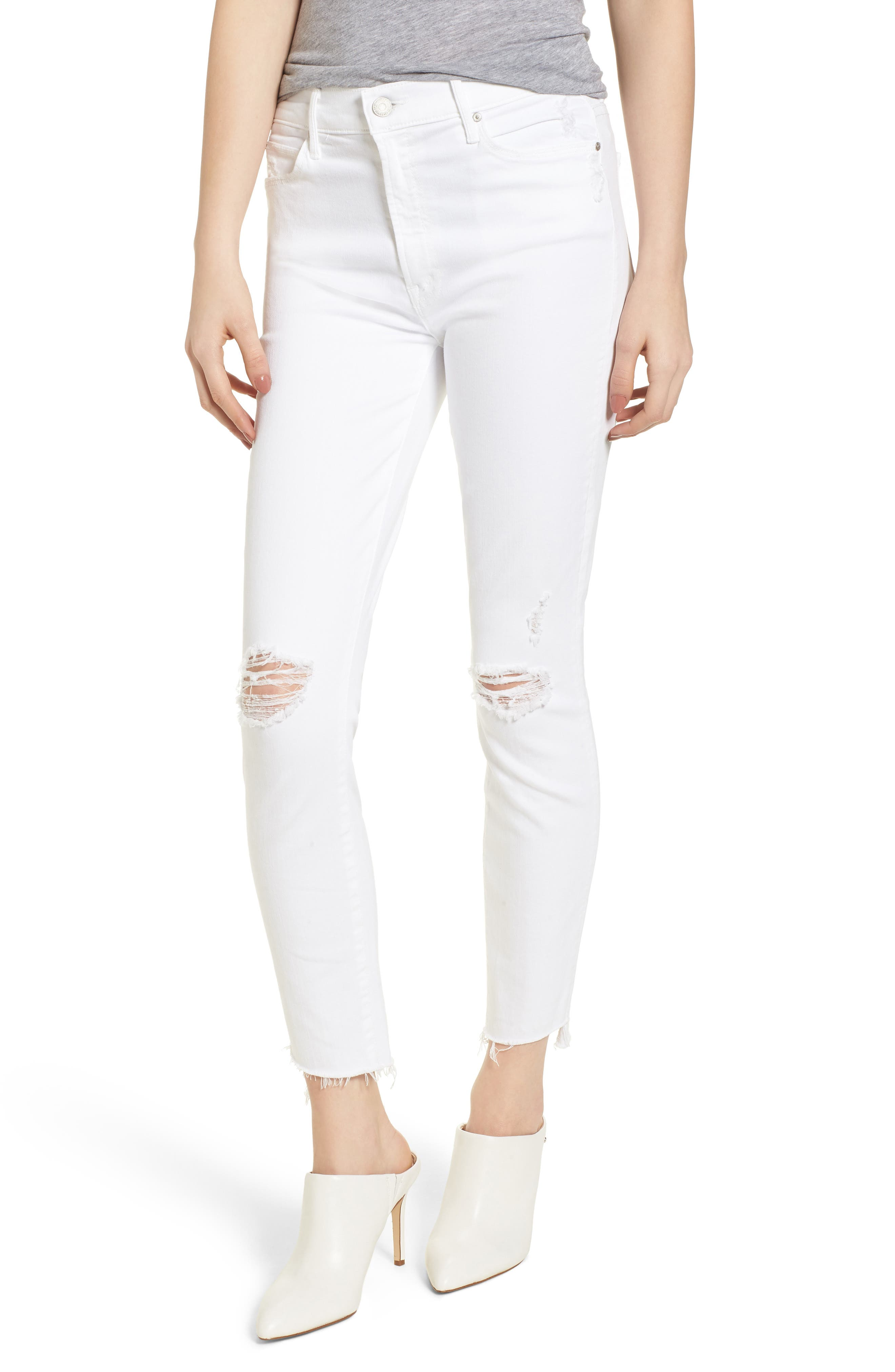 The Stunner High Waist Fray Ankle Skinny Jeans,                             Main thumbnail 1, color,                             Little Miss Innocent
