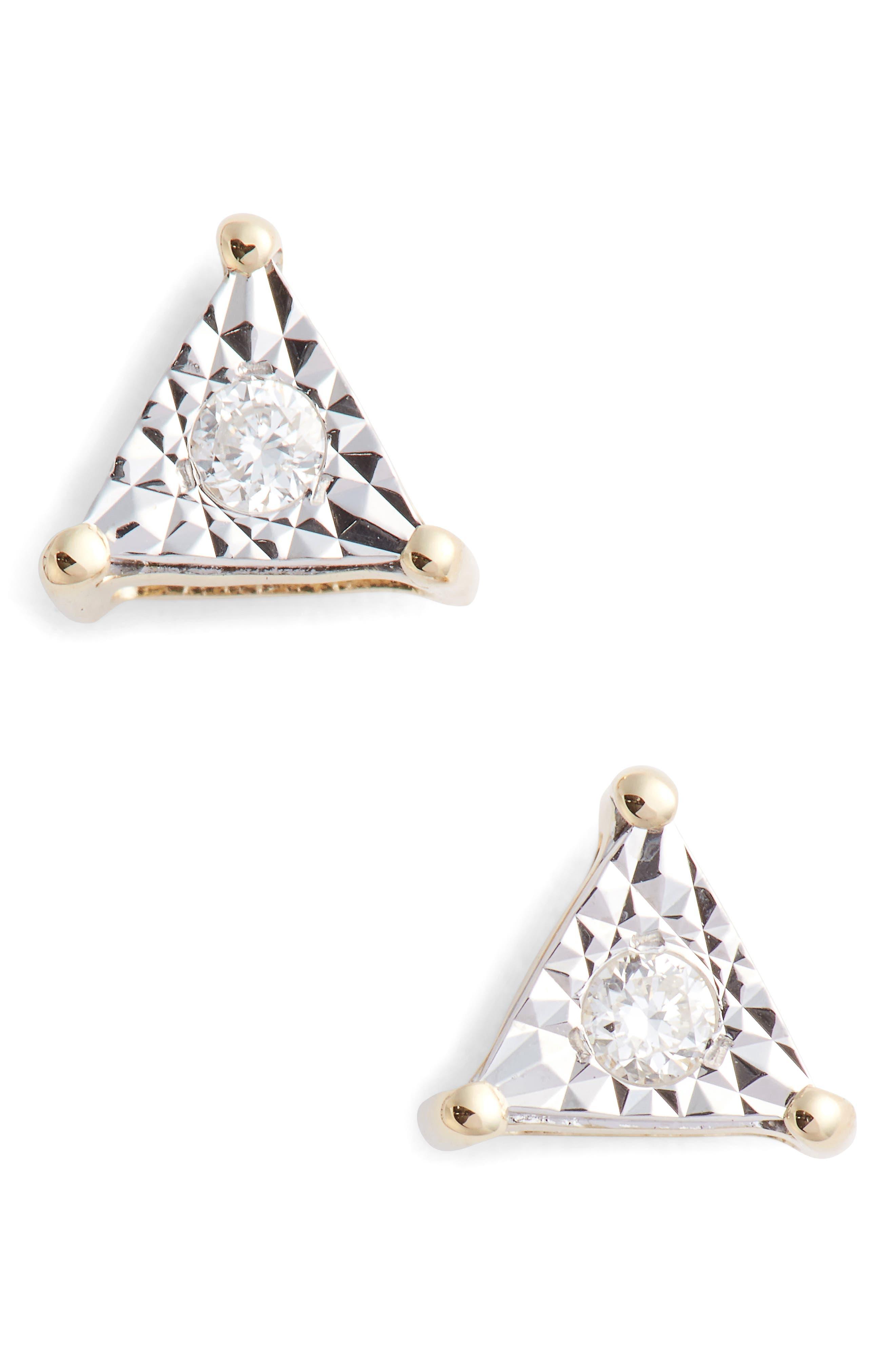 Emily Sarah Diamond Triangle Stud Earrings,                         Main,                         color, Yellow Gold/ Diamond