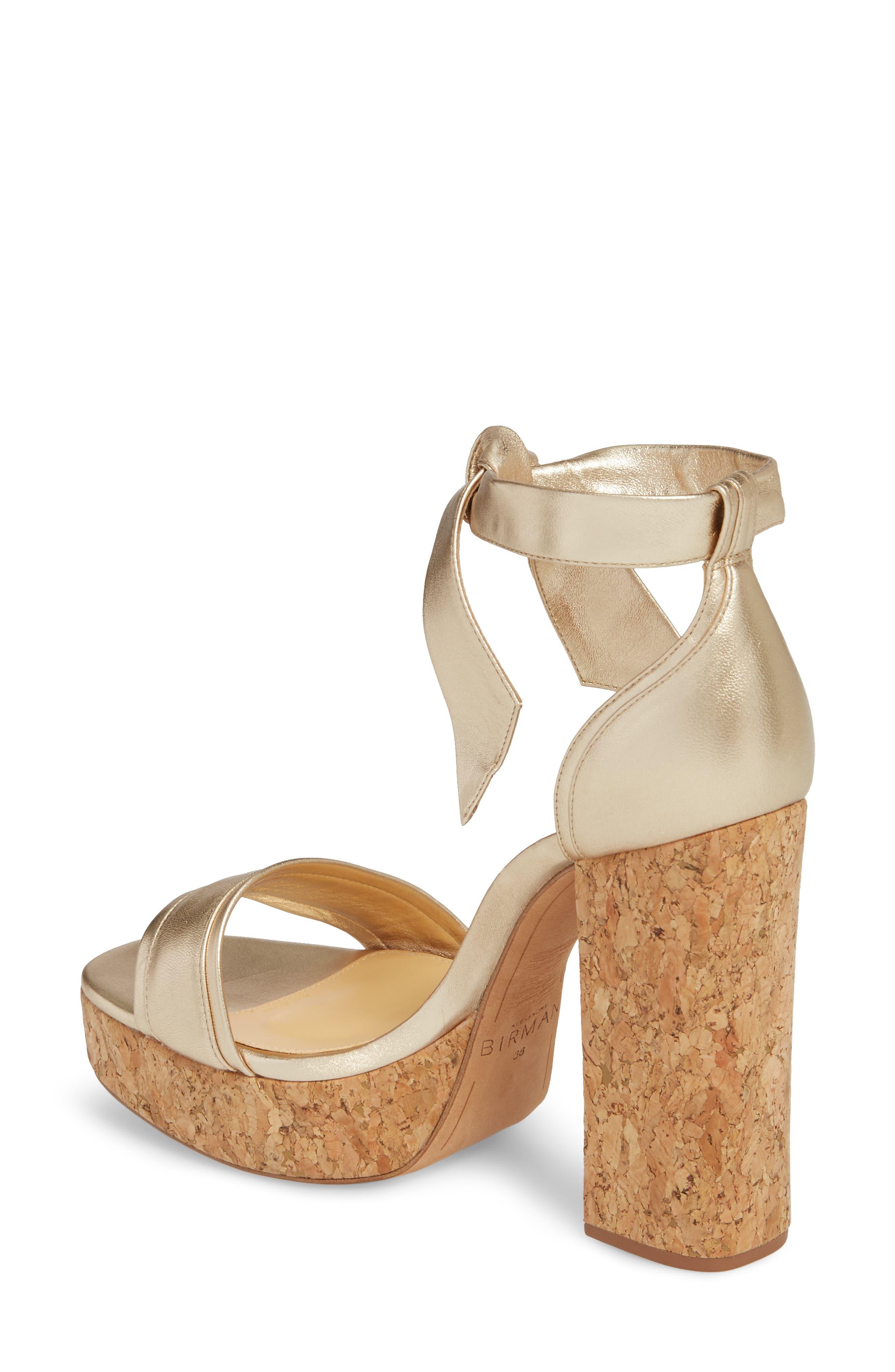 Celine Ankle Tie Platform Sandal,                             Alternate thumbnail 2, color,                             Gold