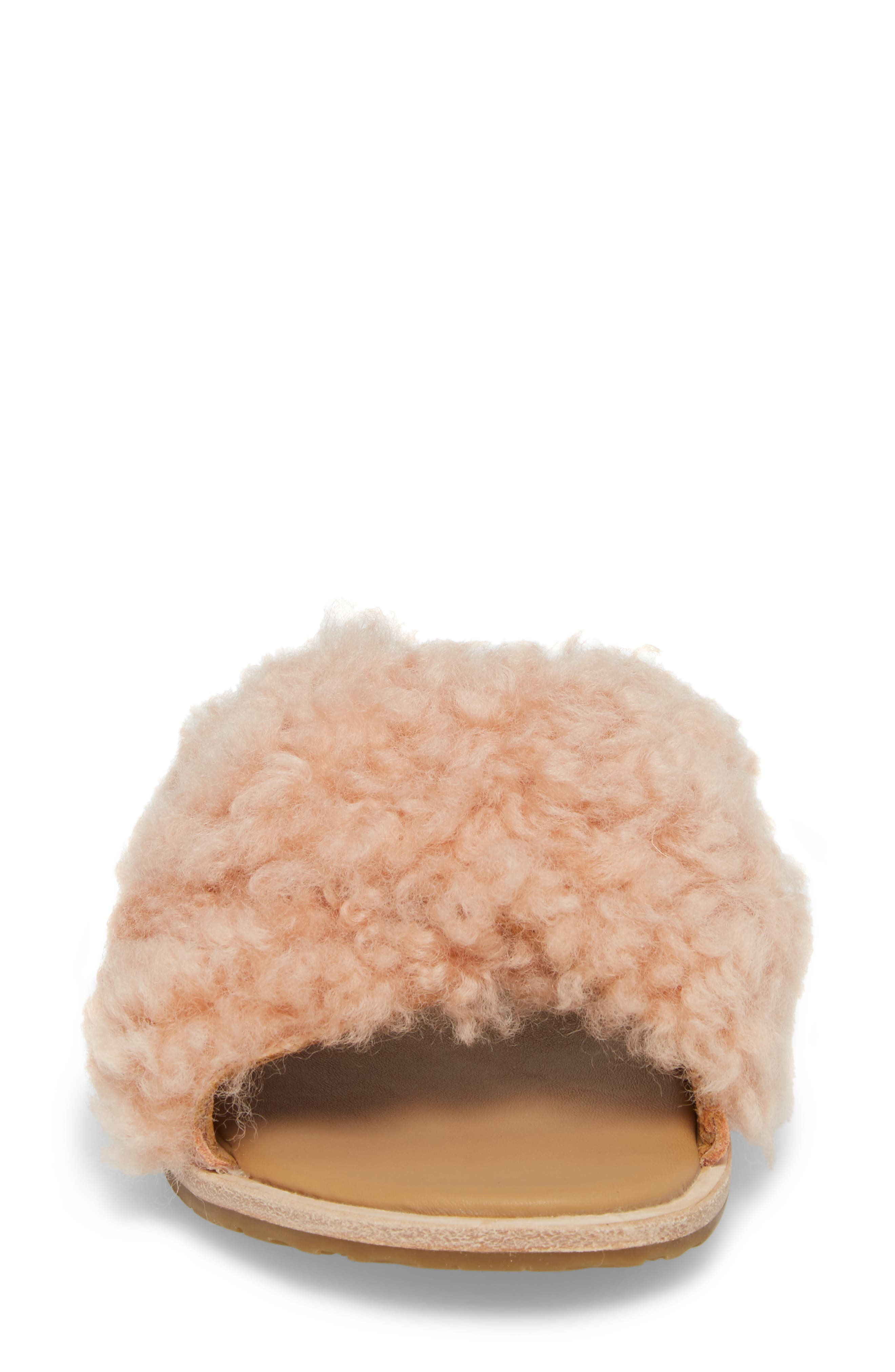 Joni Genuine Shearling Slide Sandal,                             Alternate thumbnail 6, color,                             Suntan