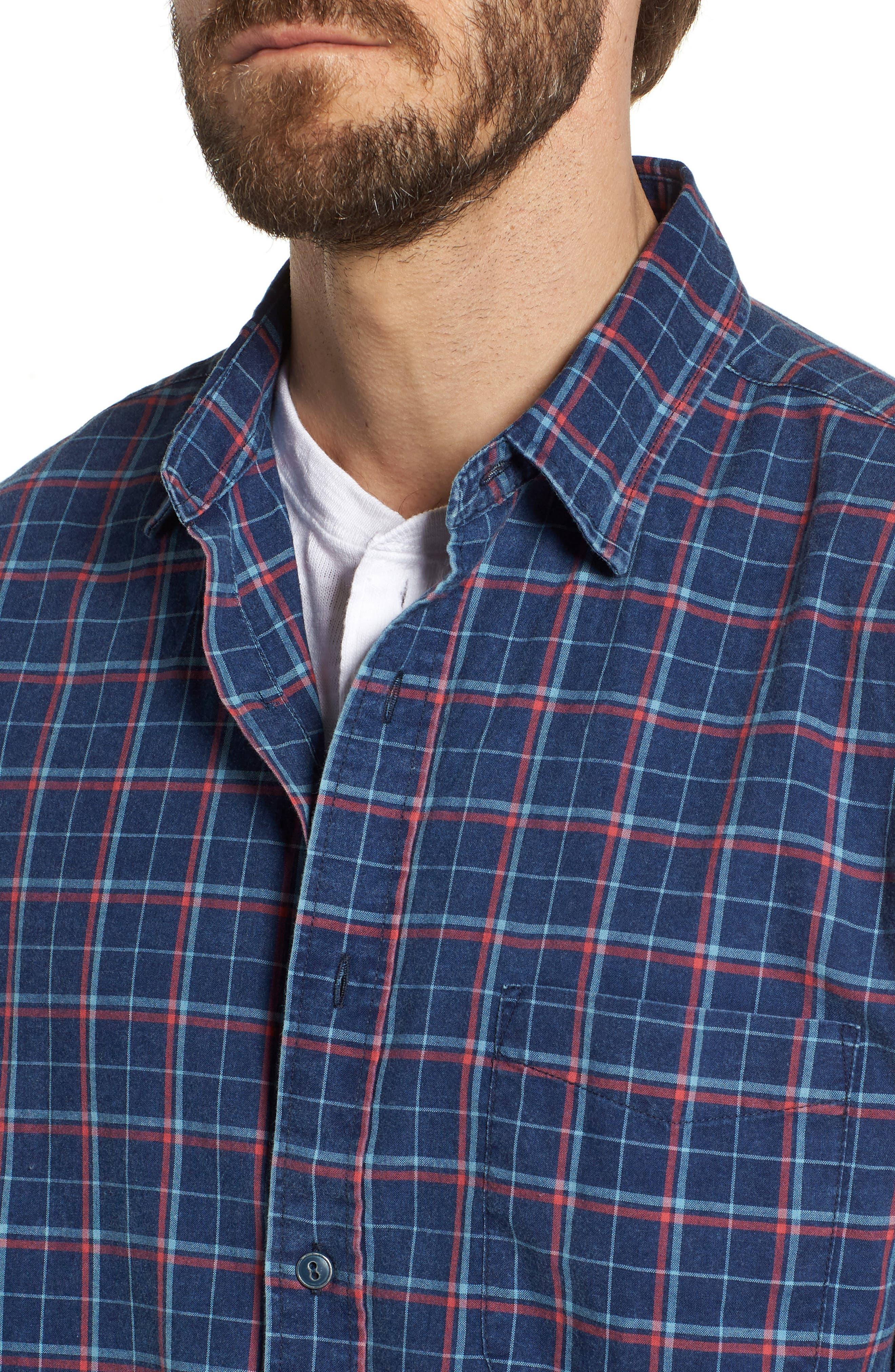 Ventura Plaid Sport Shirt,                             Alternate thumbnail 4, color,                             Dark Indigo Multi