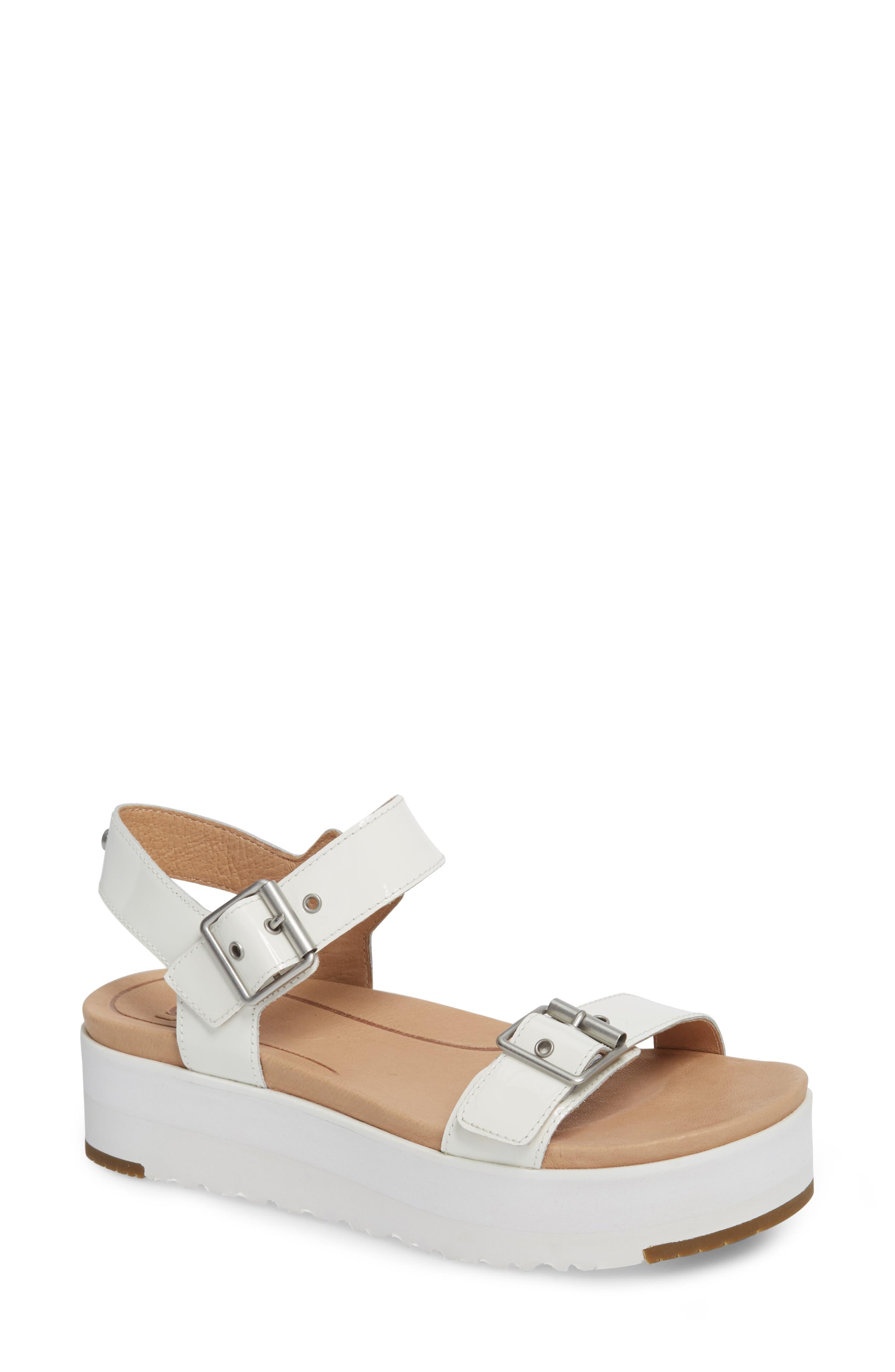 Angie Platform Sandal,                         Main,                         color, White Leather