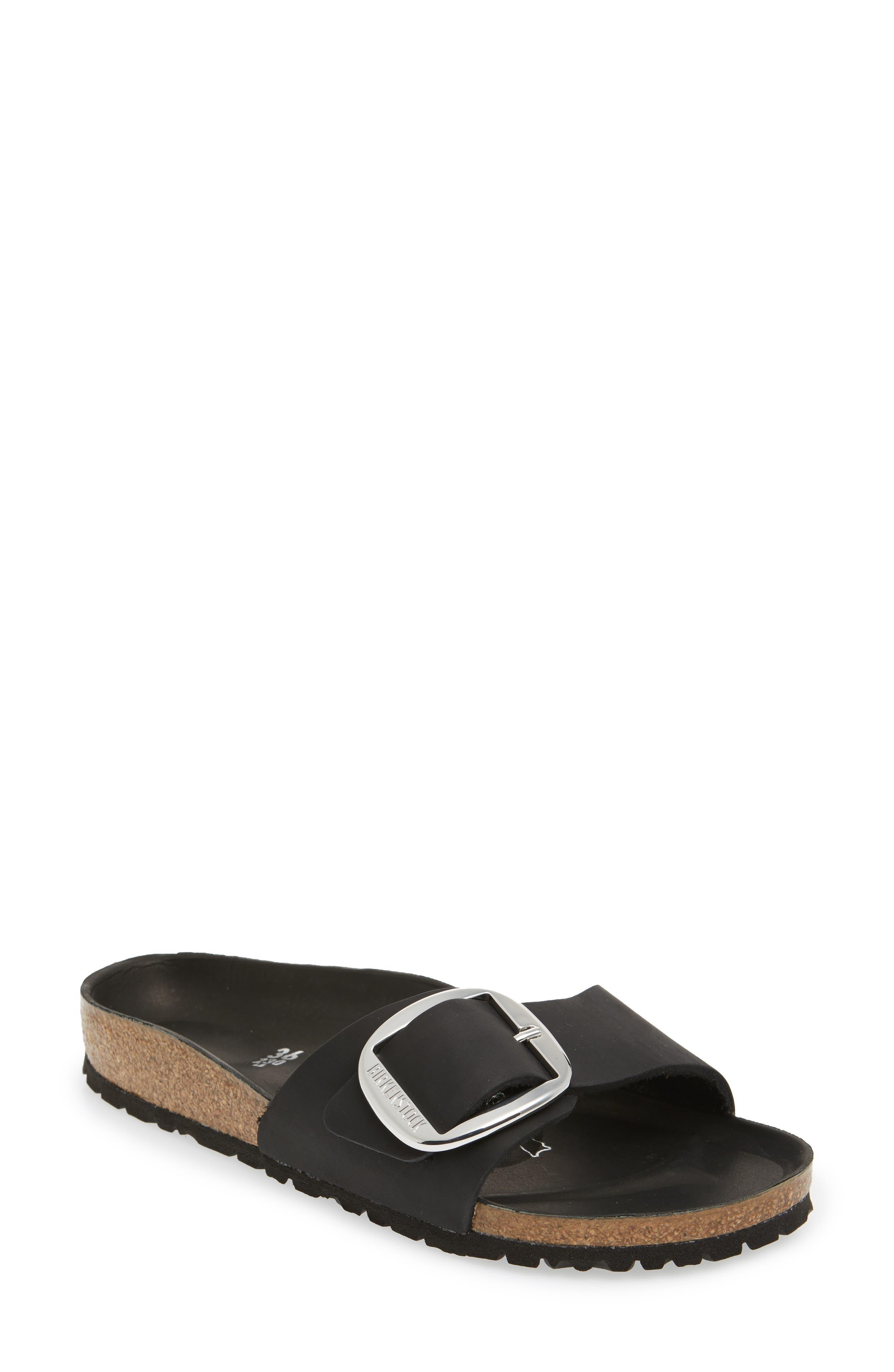Madrid Big Buckle Slide Sandal,                             Main thumbnail 1, color,                             Black Leather