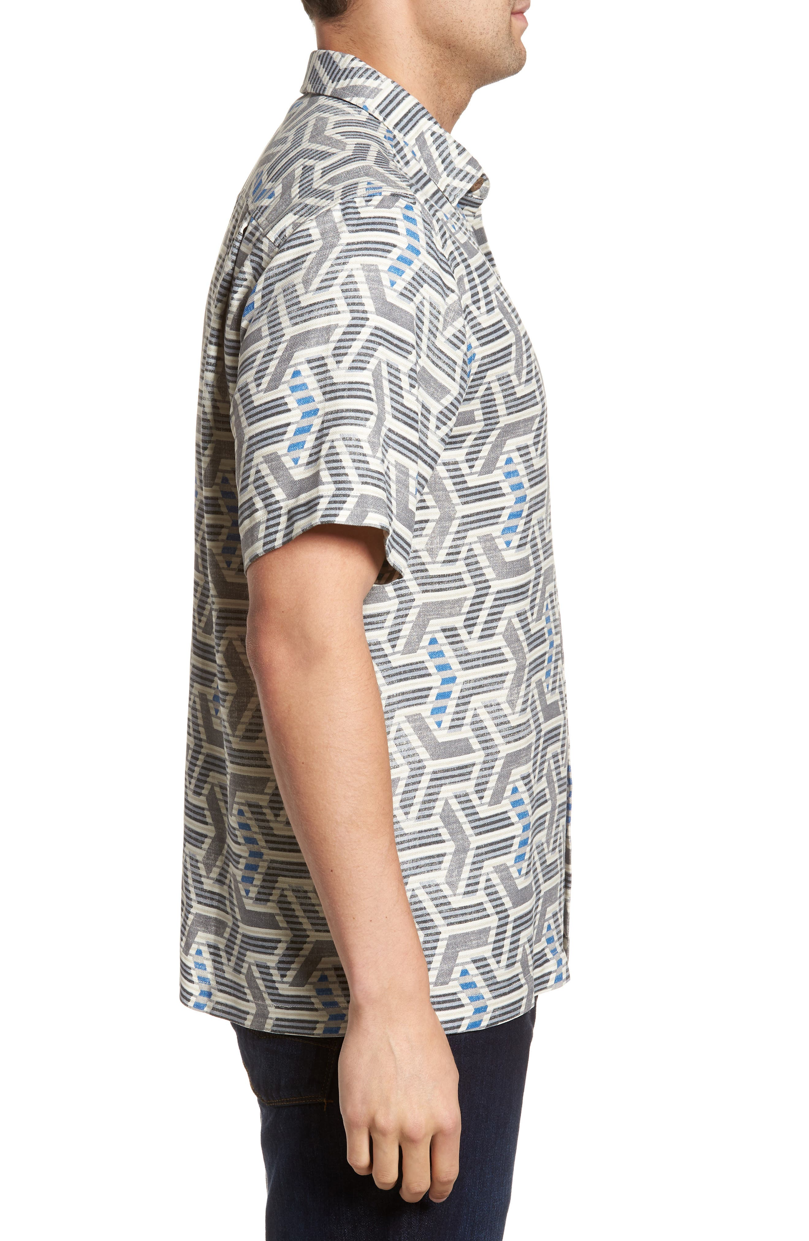 Wellington Geometric Silk Blend Camp Shirt,                             Alternate thumbnail 3, color,                             Fog Grey