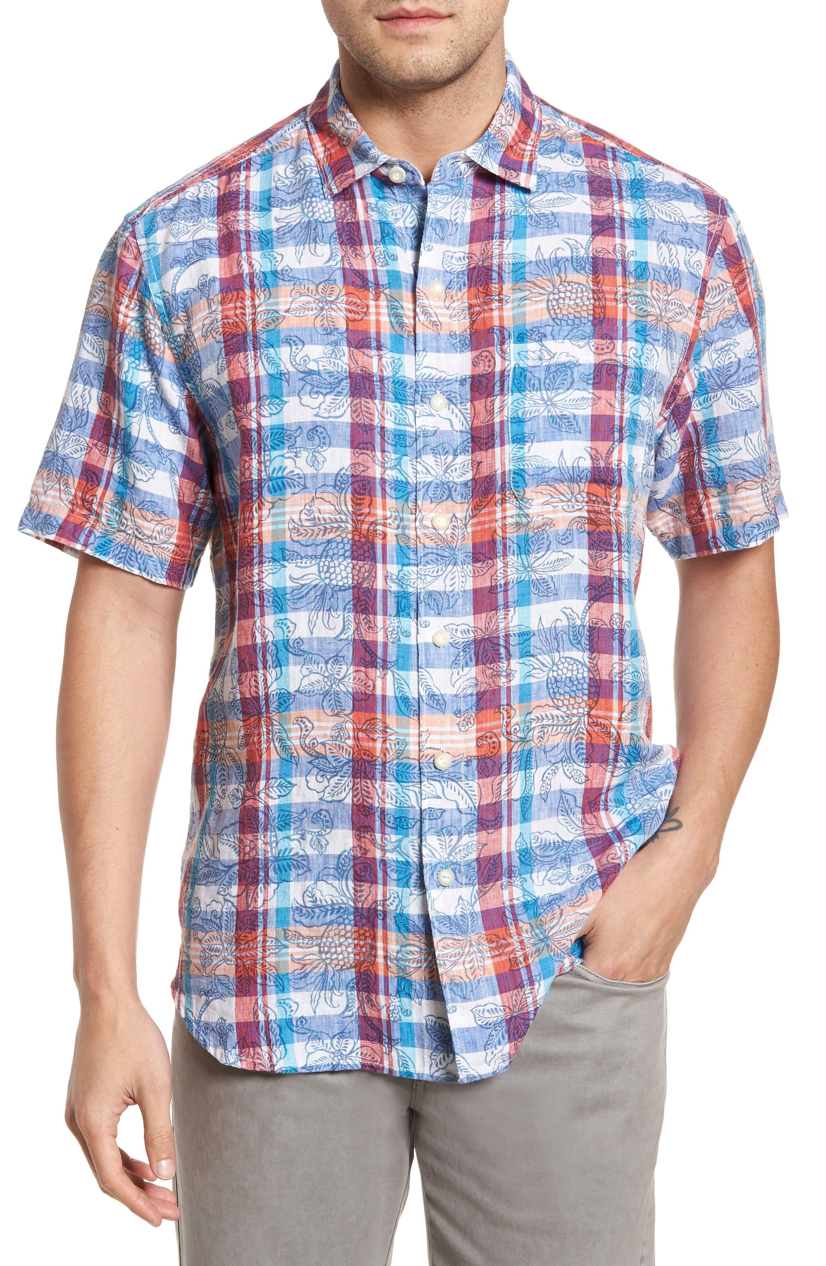 Tropico Madras Linen Sport Shirt,                         Main,                         color, Cobalt Sea