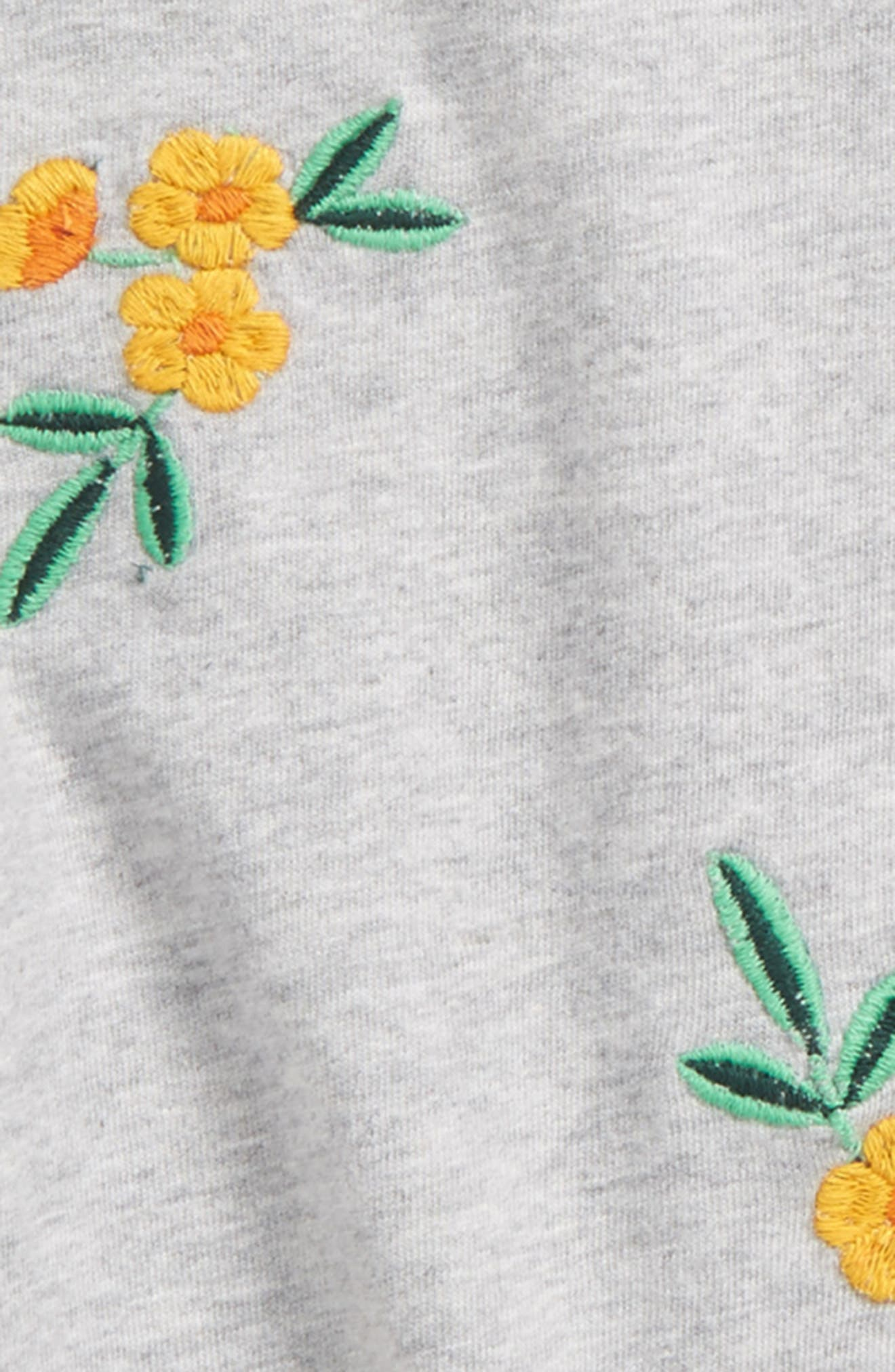 Embroidered Tee,                             Alternate thumbnail 2, color,                             Grey Ash Heather Floral Toss